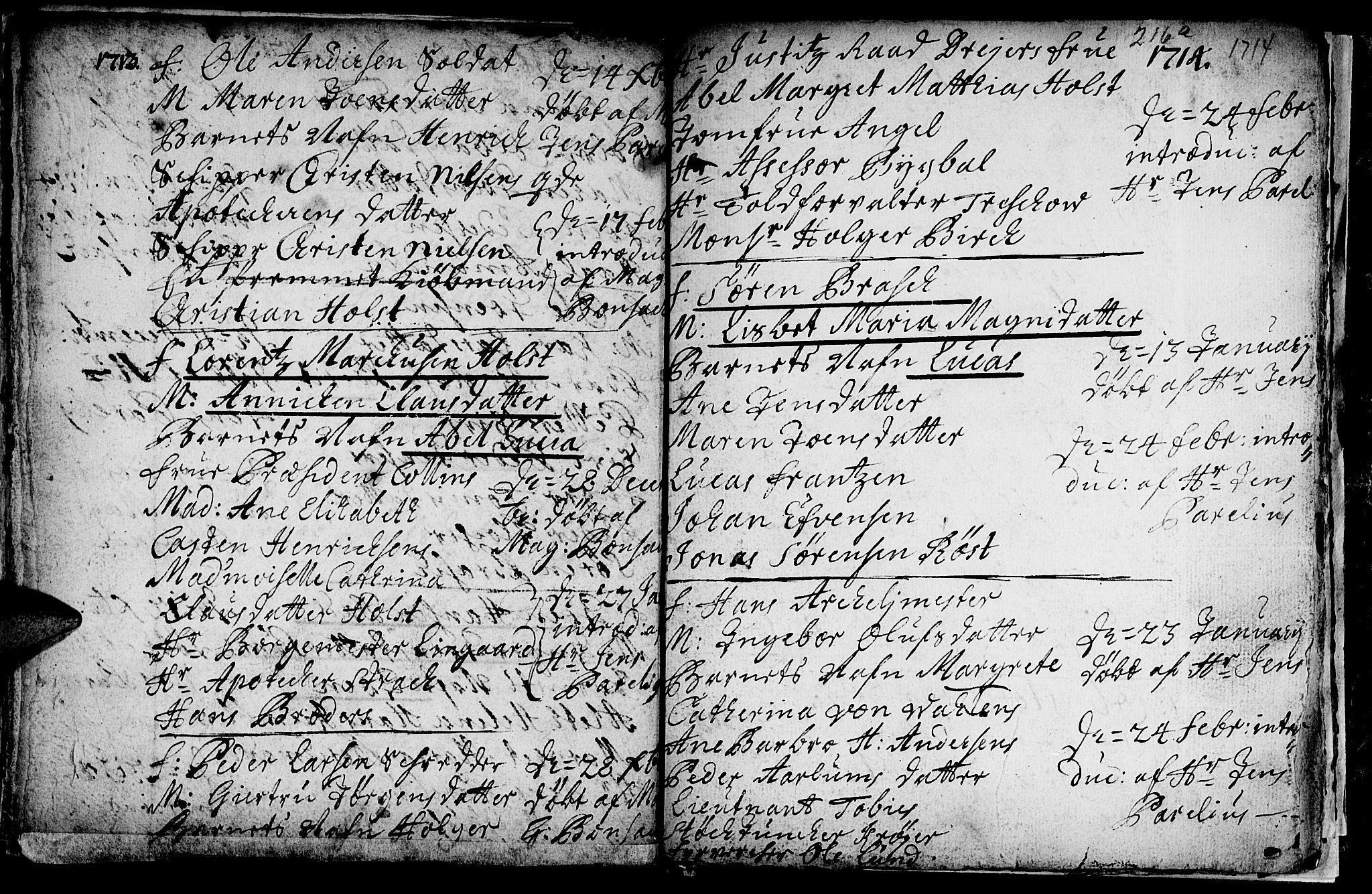 SAT, Ministerialprotokoller, klokkerbøker og fødselsregistre - Sør-Trøndelag, 601/L0034: Ministerialbok nr. 601A02, 1702-1714, s. 216b