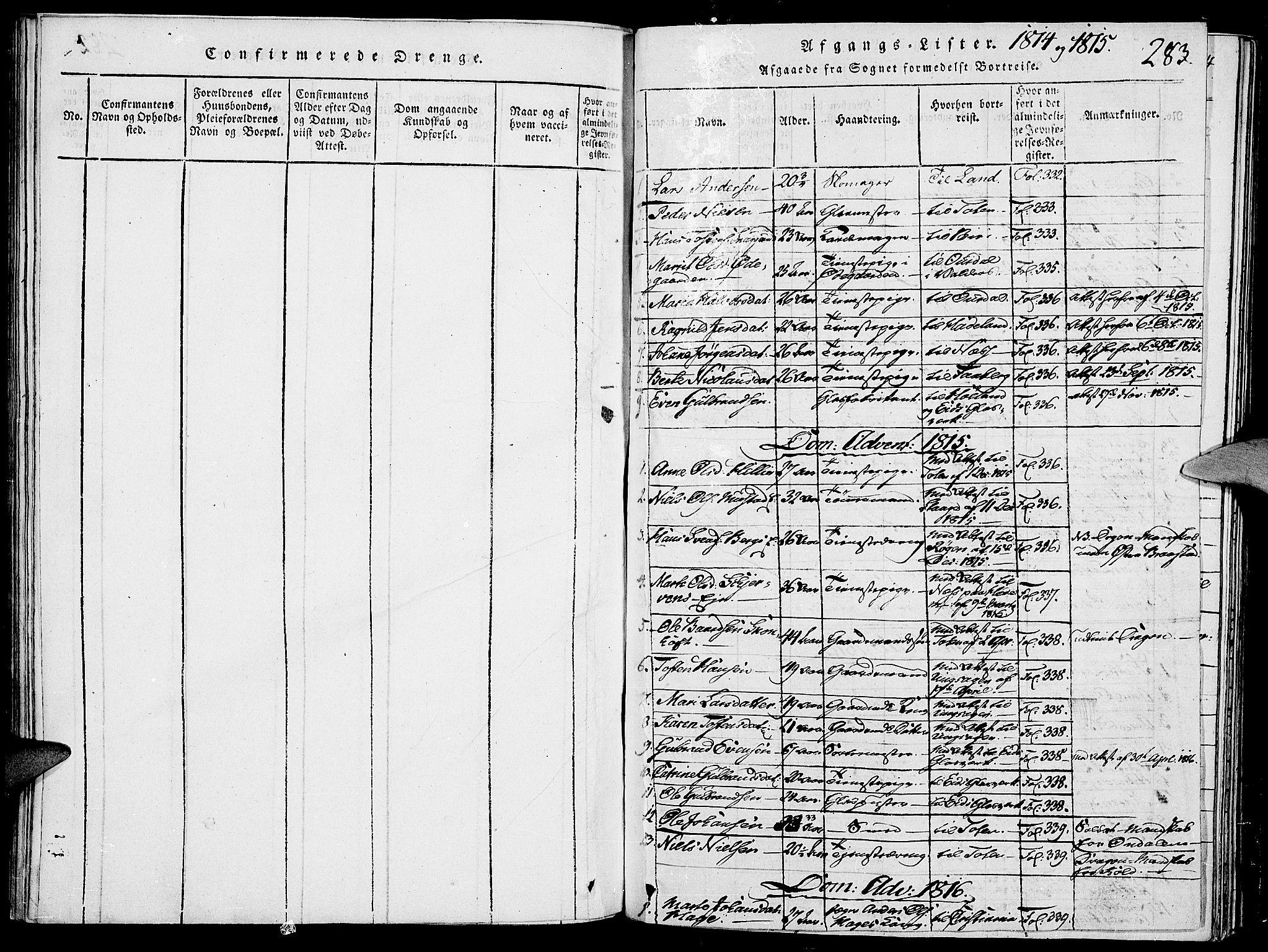 SAH, Vardal prestekontor, H/Ha/Haa/L0004: Ministerialbok nr. 4, 1814-1831, s. 283
