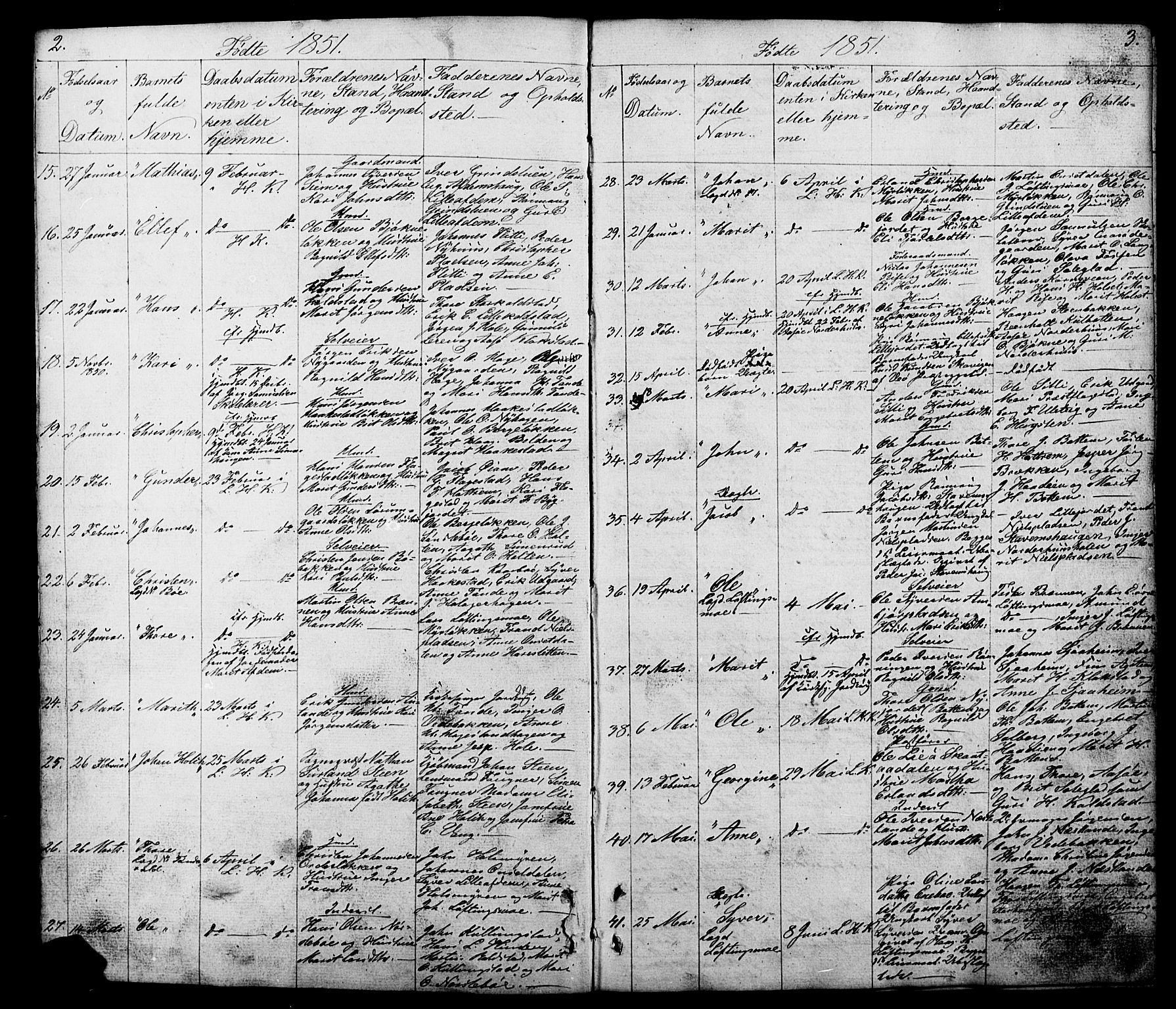 SAH, Lesja prestekontor, Klokkerbok nr. 5, 1850-1894, s. 2-3