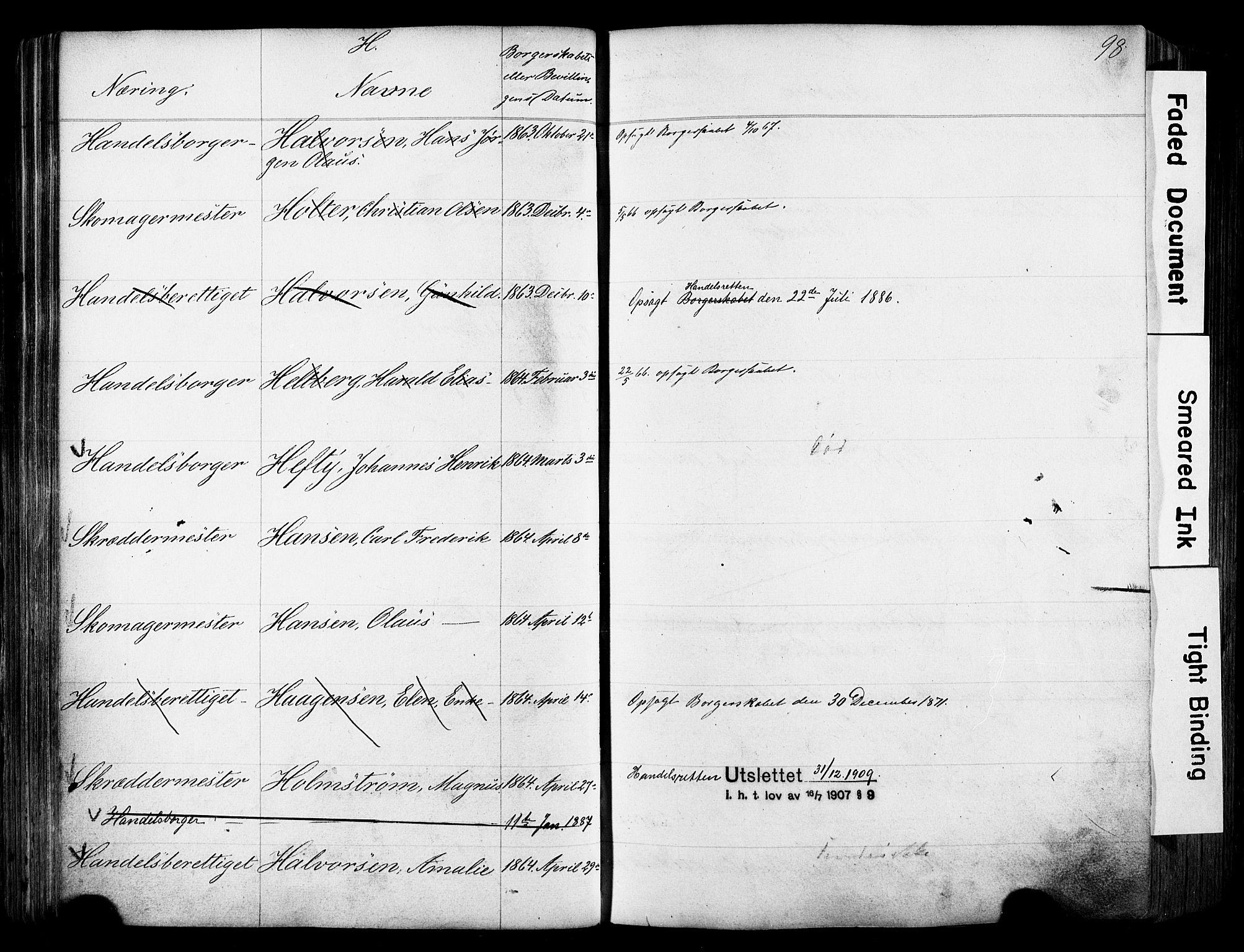 SAO, Kristiania magistrat, F/Fb/L0004: Borgerrulle, 1860-1879, s. 100