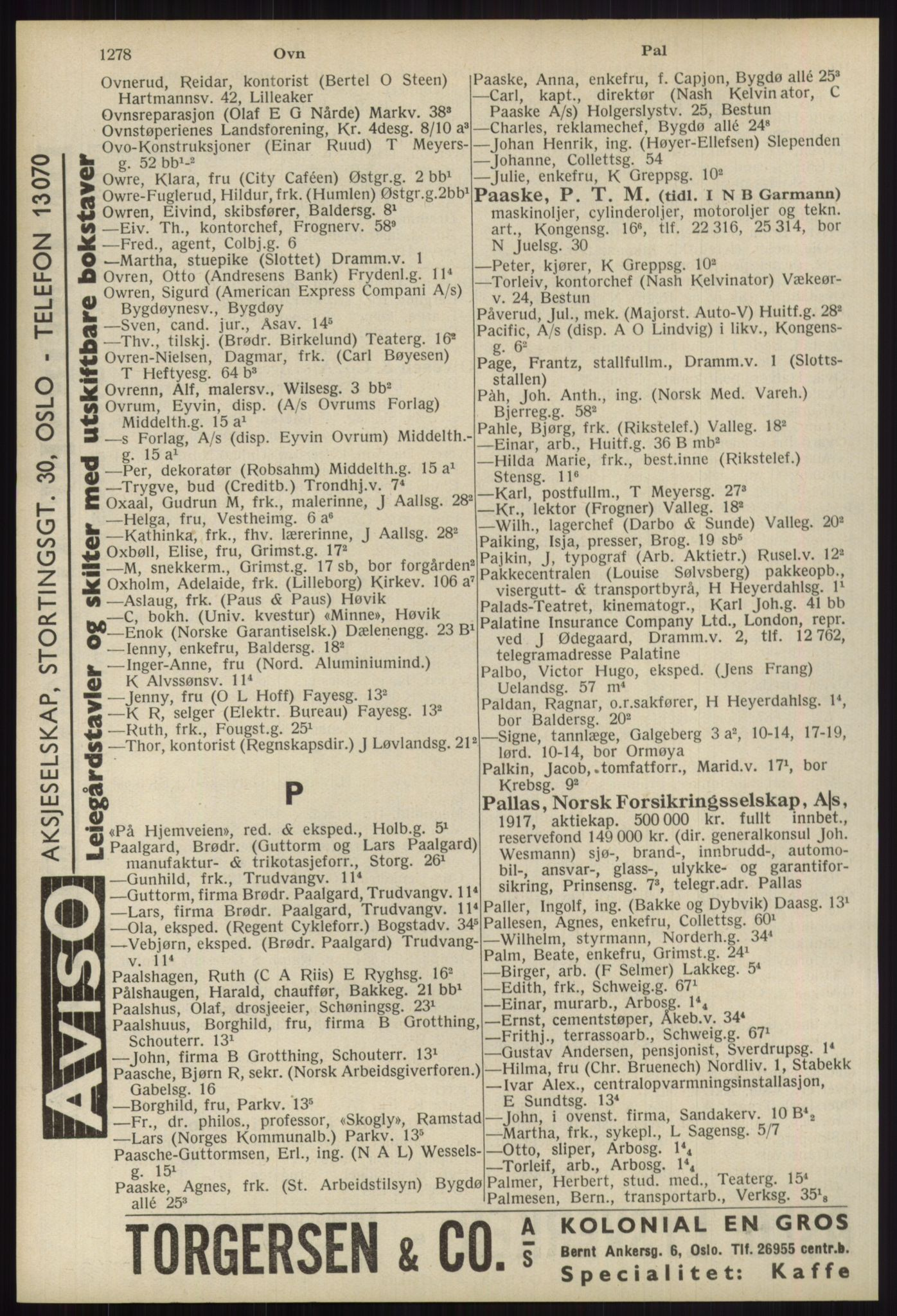 RA, Oslo adressebok (publikasjon)*, 1939, s. 1278