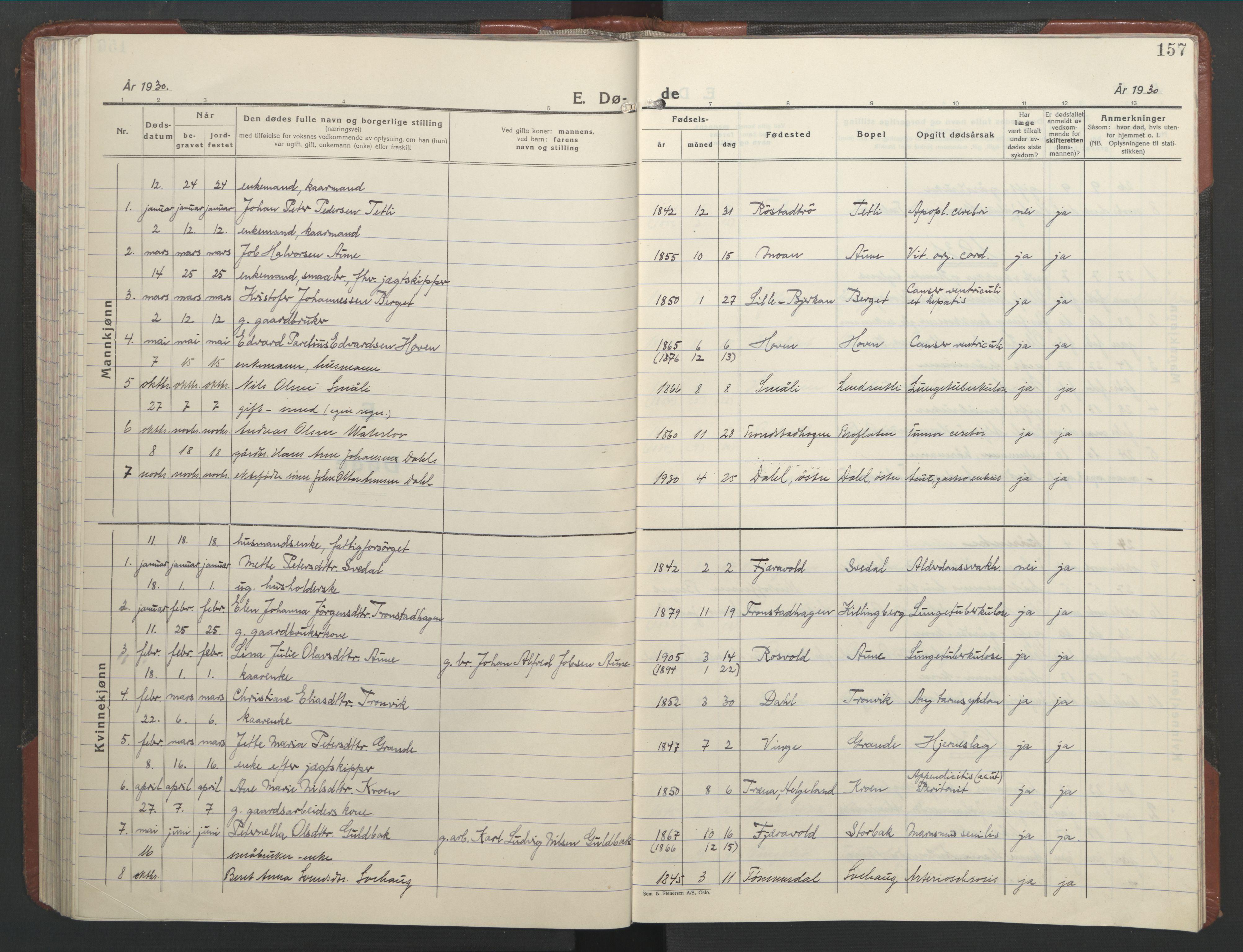 SAT, Ministerialprotokoller, klokkerbøker og fødselsregistre - Nord-Trøndelag, 701/L0019: Klokkerbok nr. 701C03, 1930-1953, s. 157