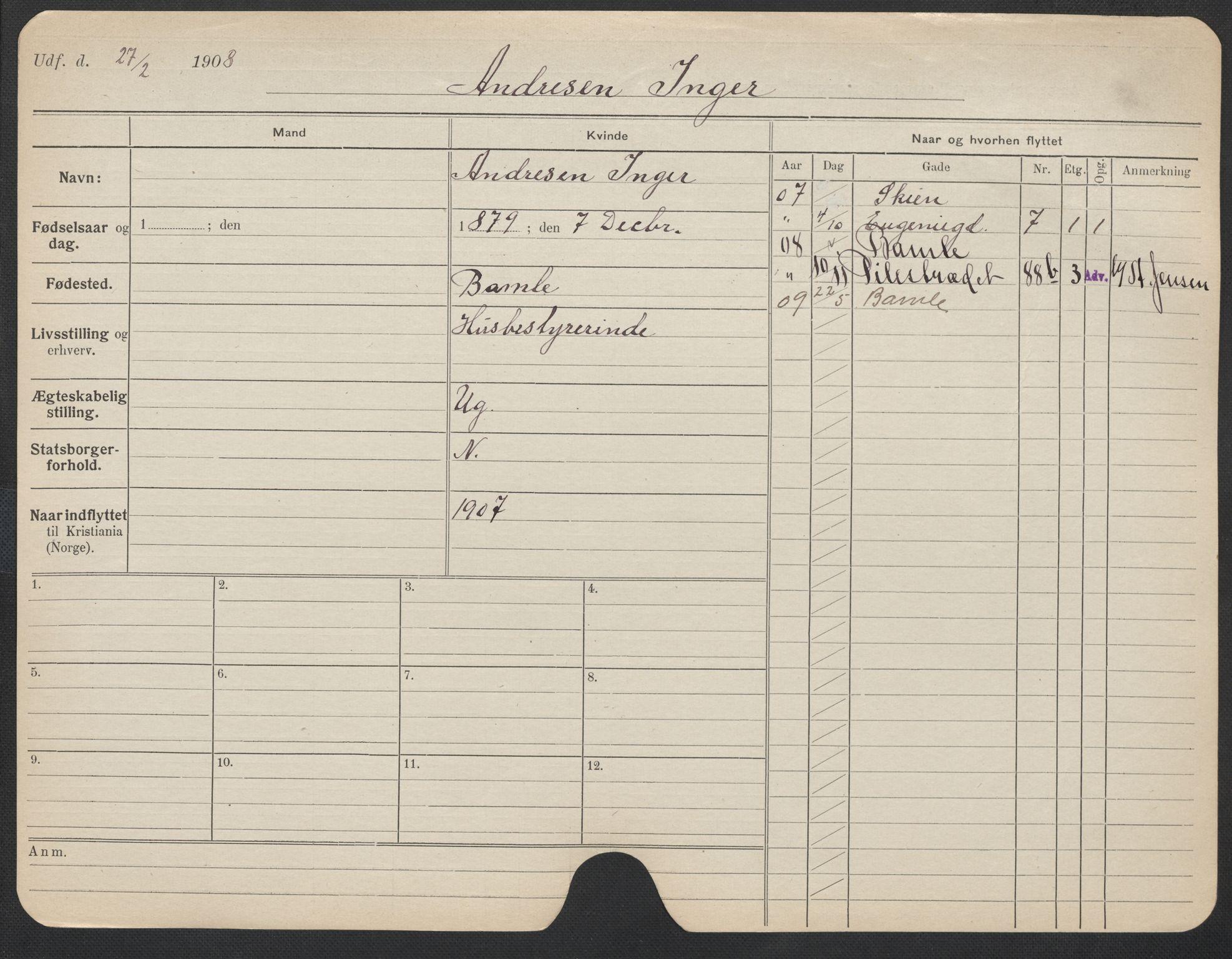 SAO, Oslo folkeregister, Registerkort, F/Fa/Fac/L0012: Kvinner, 1906-1914, s. 876a