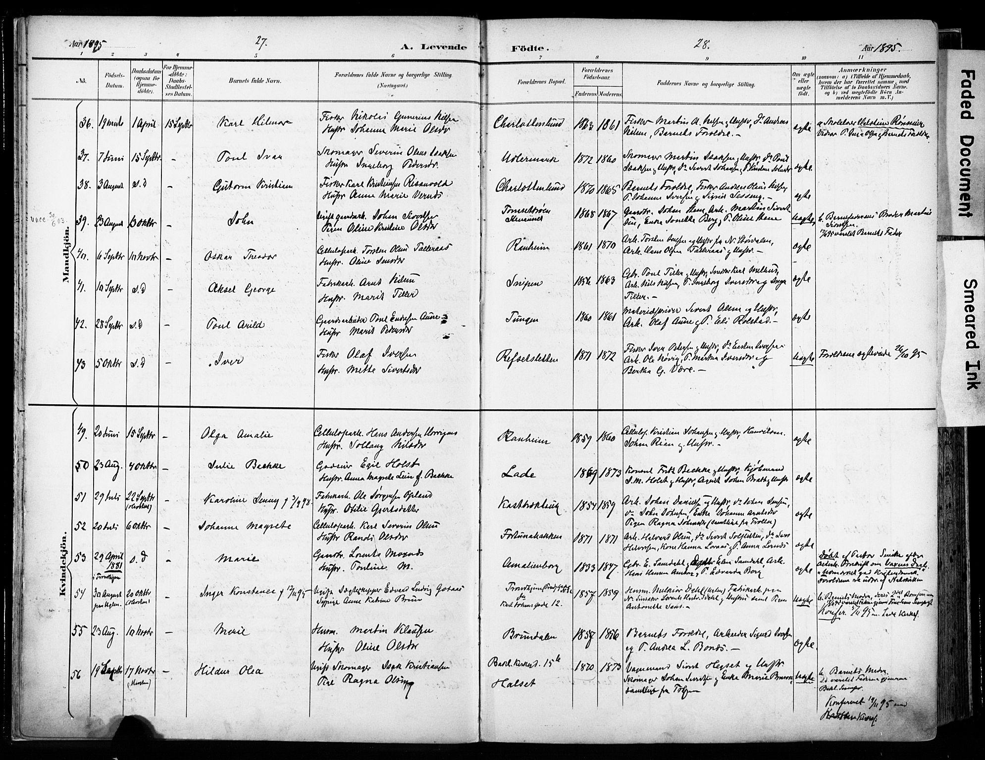 SAT, Ministerialprotokoller, klokkerbøker og fødselsregistre - Sør-Trøndelag, 606/L0301: Ministerialbok nr. 606A16, 1894-1907, s. 27-28