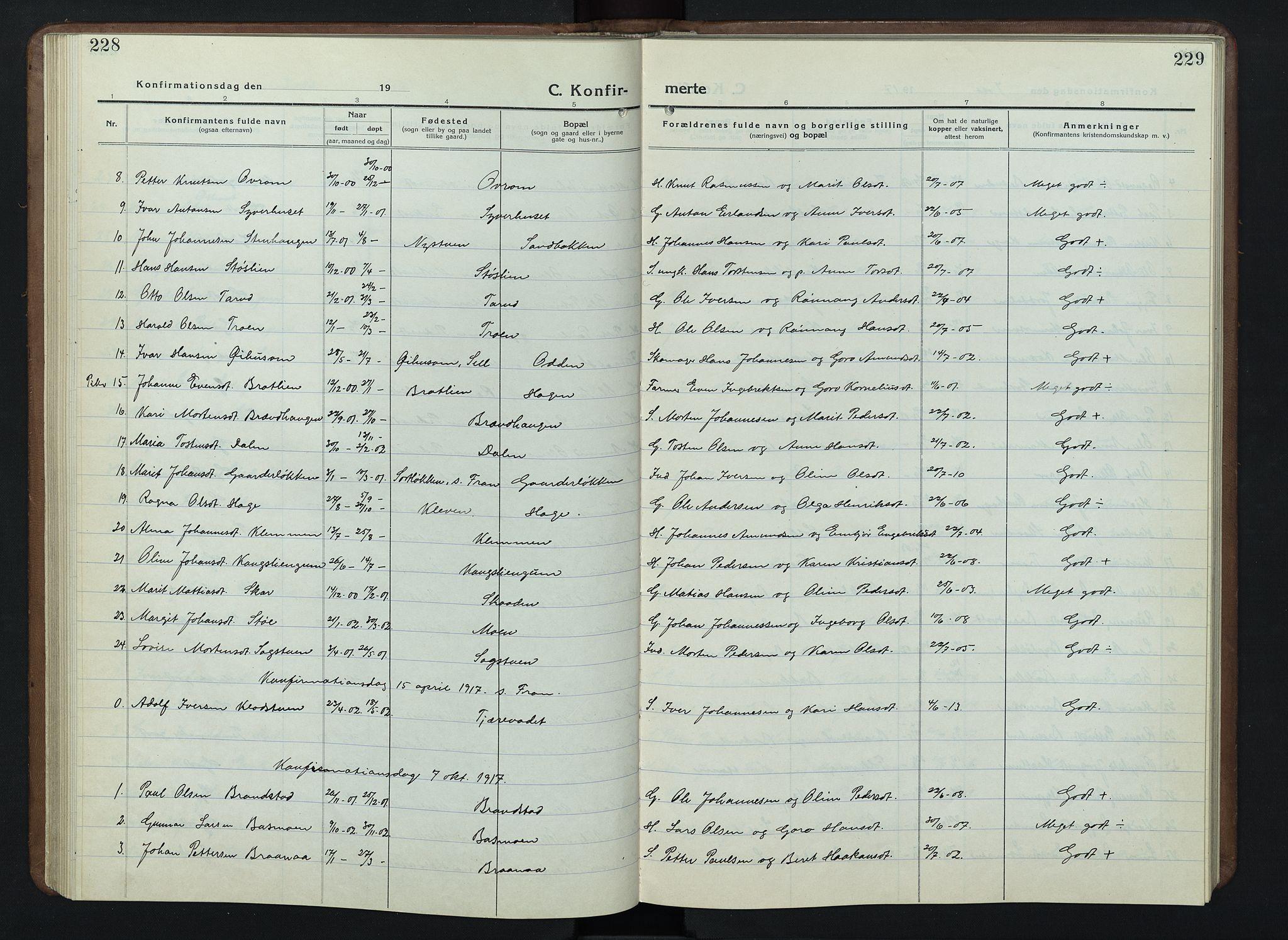 SAH, Nord-Fron prestekontor, Klokkerbok nr. 7, 1915-1946, s. 228-229