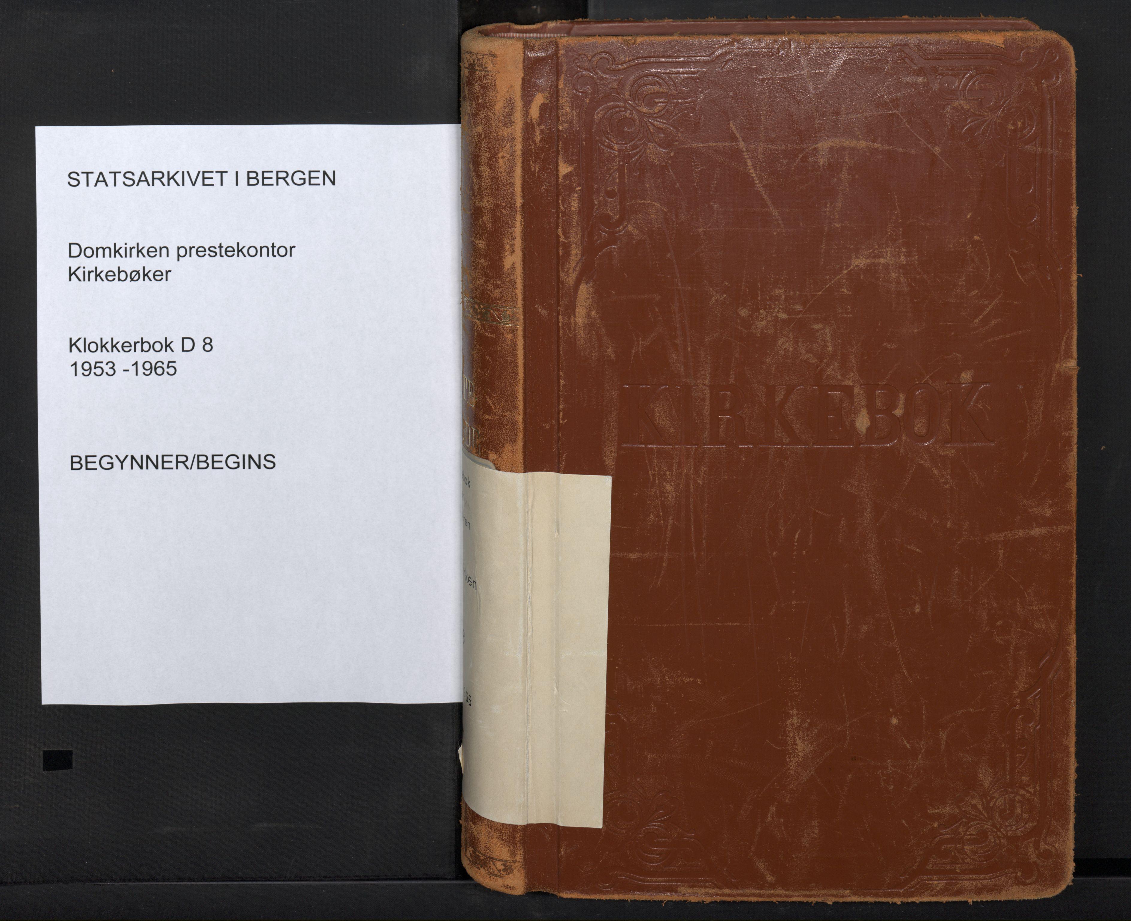 SAB, Domkirken Sokneprestembete, H/Hab/L0036: Klokkerbok nr. D 8, 1953-1965