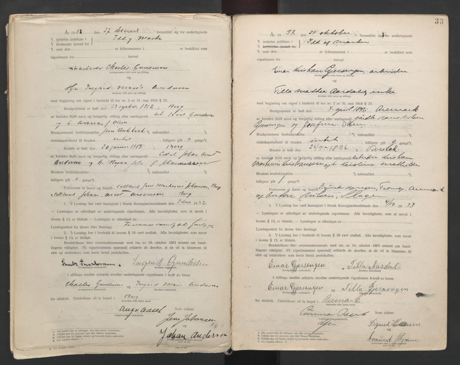 SAO, Idd og Marker sorenskriveri, L/Lc/L0001: Vigselsbøker, 1920-1942, s. 33