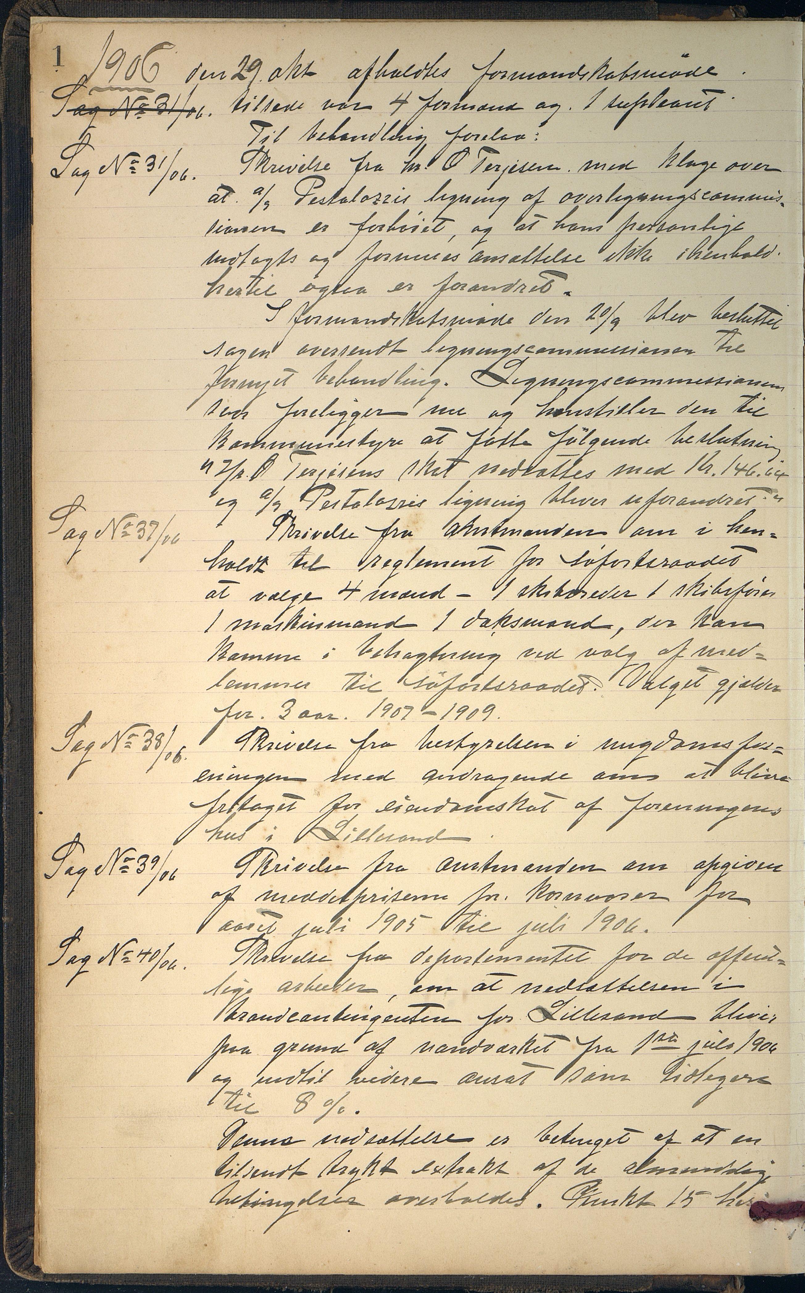AAKS, Lillesand kommune, 01/L0005: Formannskapets møtebok, 1906-1916, s. 1