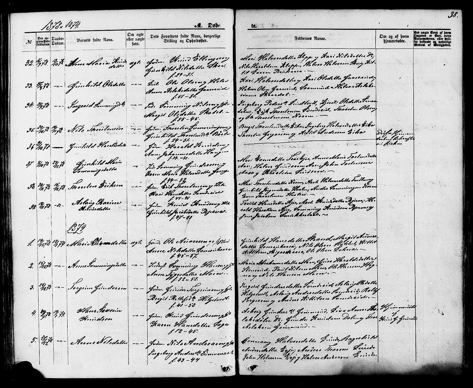SAKO, Lunde kirkebøker, F/Fa/L0001: Ministerialbok nr. I 1, 1866-1883, s. 38