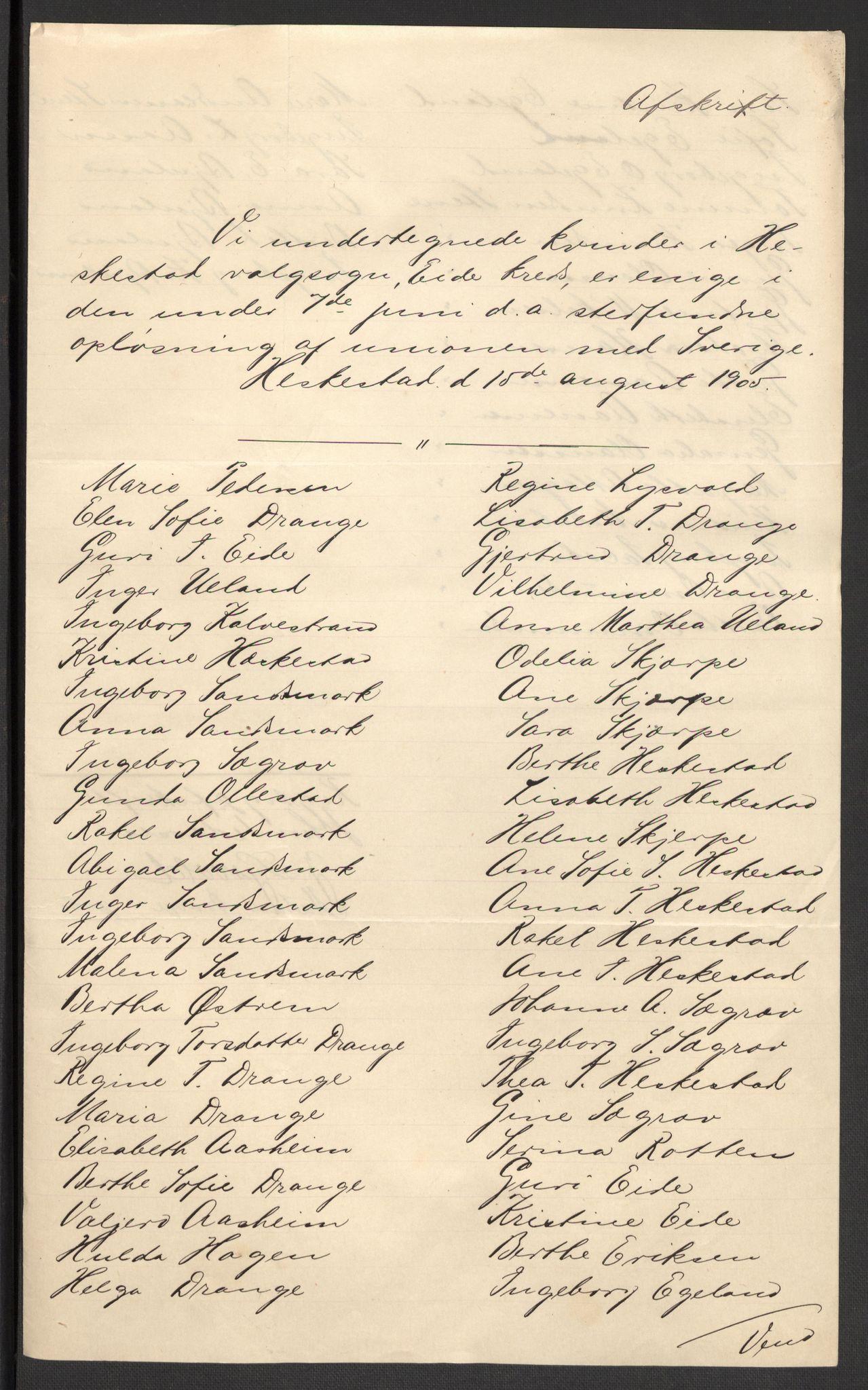 RA, Justisdepartementet, 2. sivilkontor C, F/L0125B: Folkeavstemmingen august 1905, 1905, s. 106