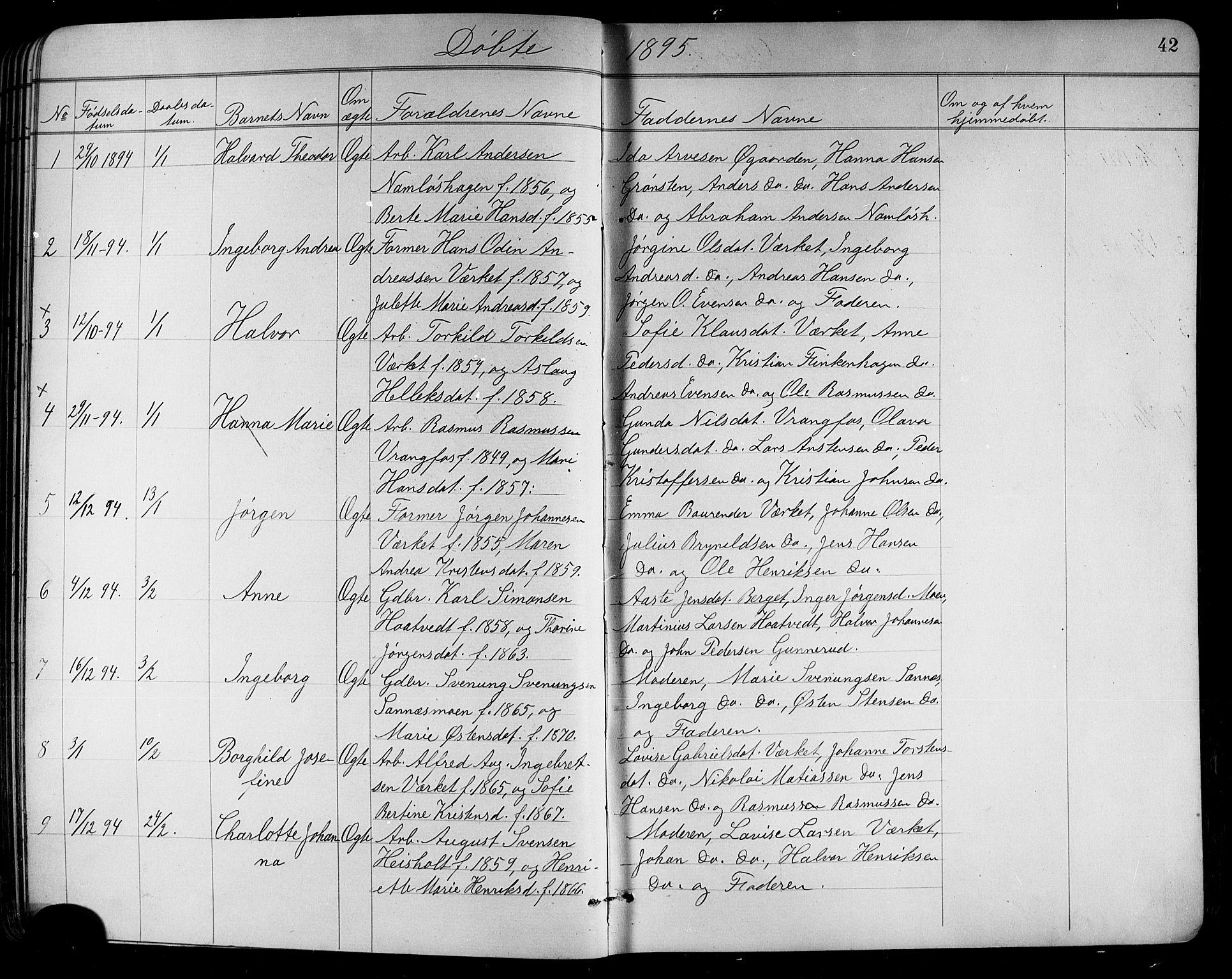 SAKO, Holla kirkebøker, G/Ga/L0005: Klokkerbok nr. I 5, 1891-1917, s. 42