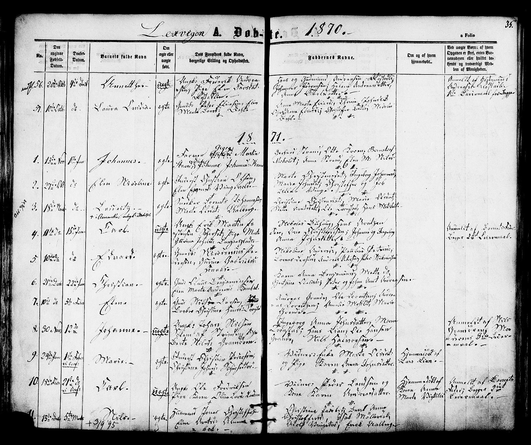SAT, Ministerialprotokoller, klokkerbøker og fødselsregistre - Nord-Trøndelag, 701/L0009: Ministerialbok nr. 701A09 /1, 1864-1882, s. 35