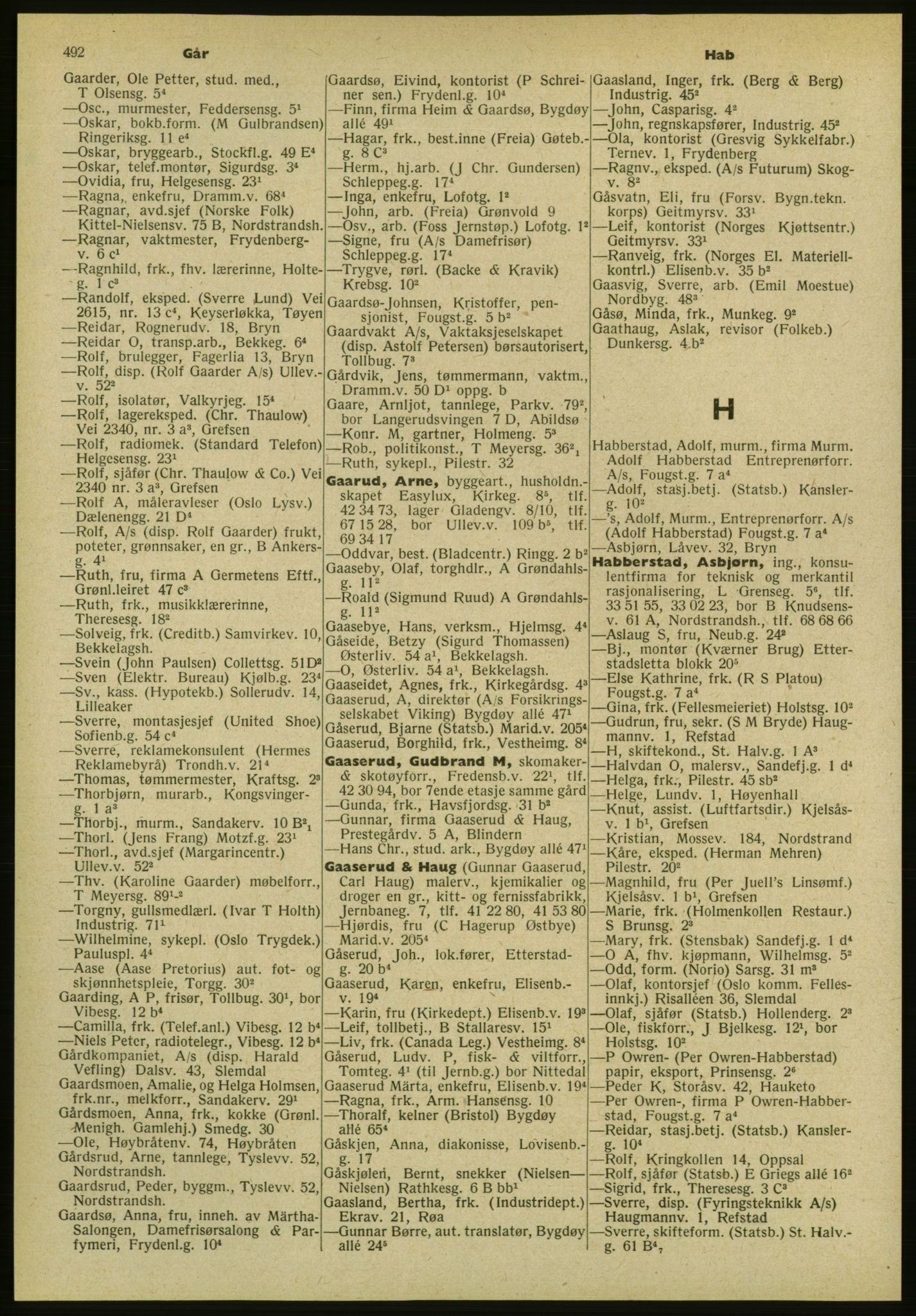 PUBL, Kristiania/Oslo adressebok, 1952, s. 492