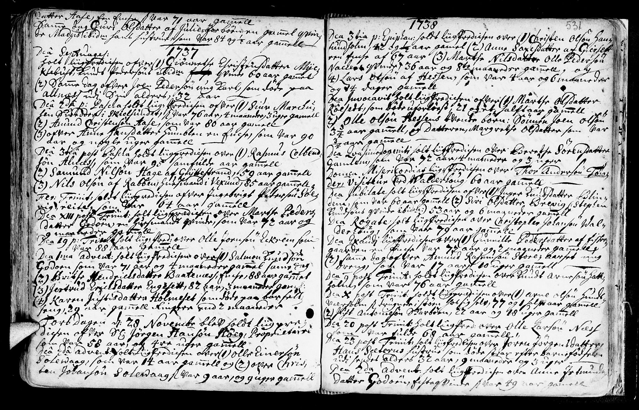 SAT, Ministerialprotokoller, klokkerbøker og fødselsregistre - Møre og Romsdal, 528/L0390: Ministerialbok nr. 528A01, 1698-1739, s. 530-531