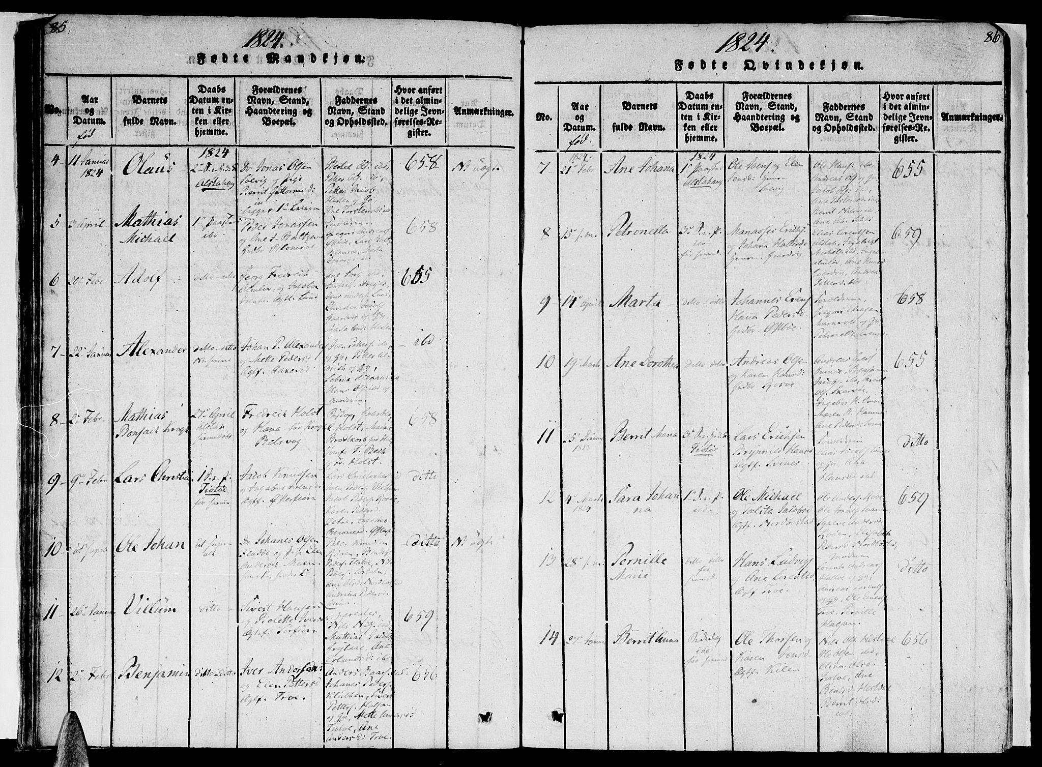 SAT, Ministerialprotokoller, klokkerbøker og fødselsregistre - Nordland, 830/L0445: Ministerialbok nr. 830A09, 1820-1830, s. 85-86