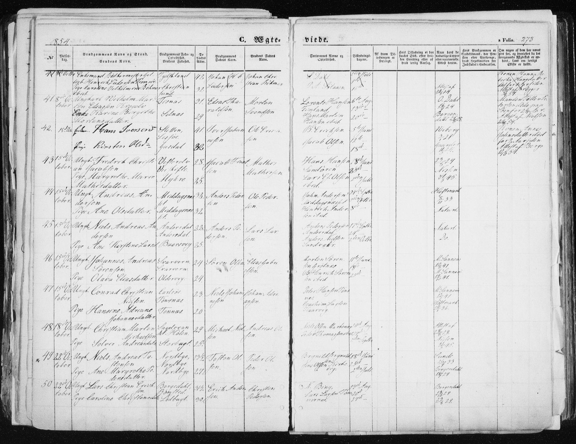 SATØ, Tromsø sokneprestkontor/stiftsprosti/domprosti, G/Ga/L0010kirke: Ministerialbok nr. 10, 1848-1855, s. 273