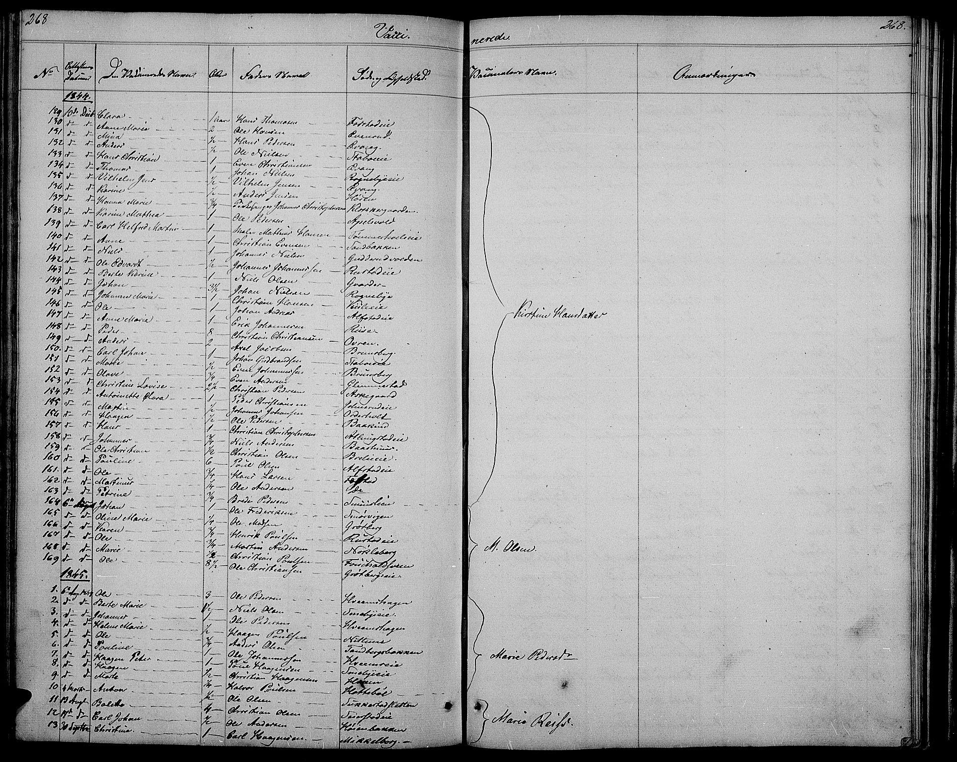 SAH, Østre Toten prestekontor, Klokkerbok nr. 2, 1840-1847, s. 268