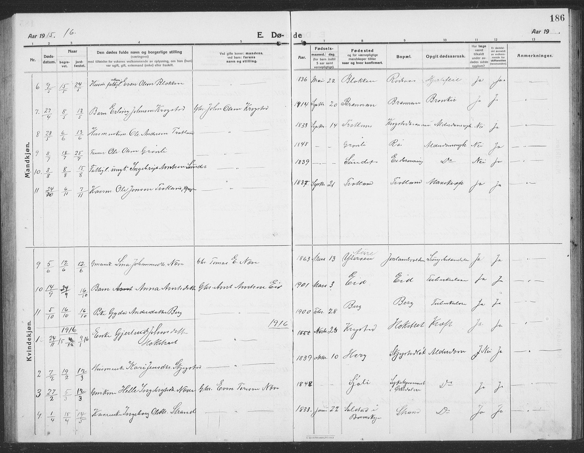 SAT, Ministerialprotokoller, klokkerbøker og fødselsregistre - Sør-Trøndelag, 694/L1134: Klokkerbok nr. 694C06, 1915-1937, s. 186