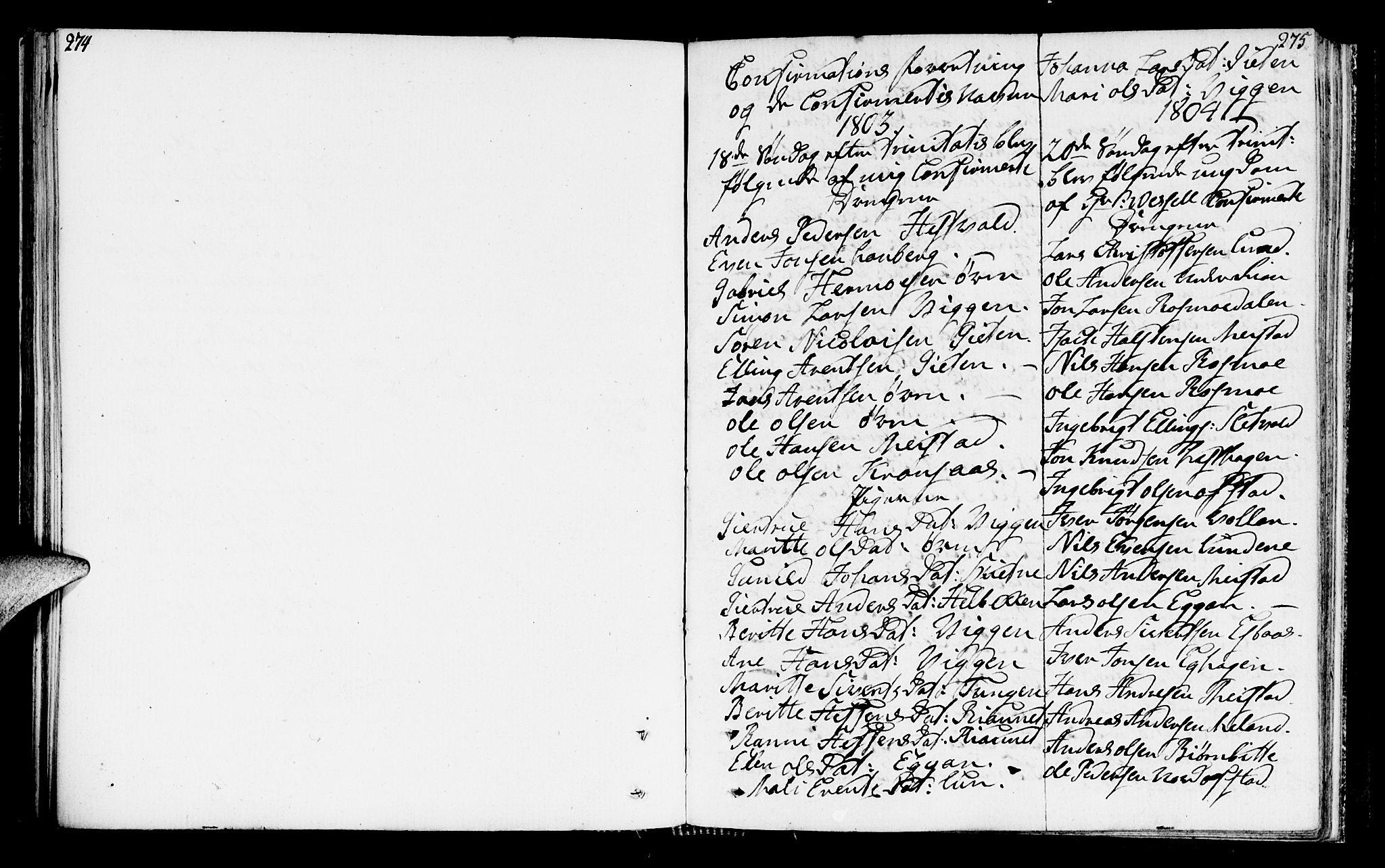 SAT, Ministerialprotokoller, klokkerbøker og fødselsregistre - Sør-Trøndelag, 665/L0769: Ministerialbok nr. 665A04, 1803-1816, s. 274-275