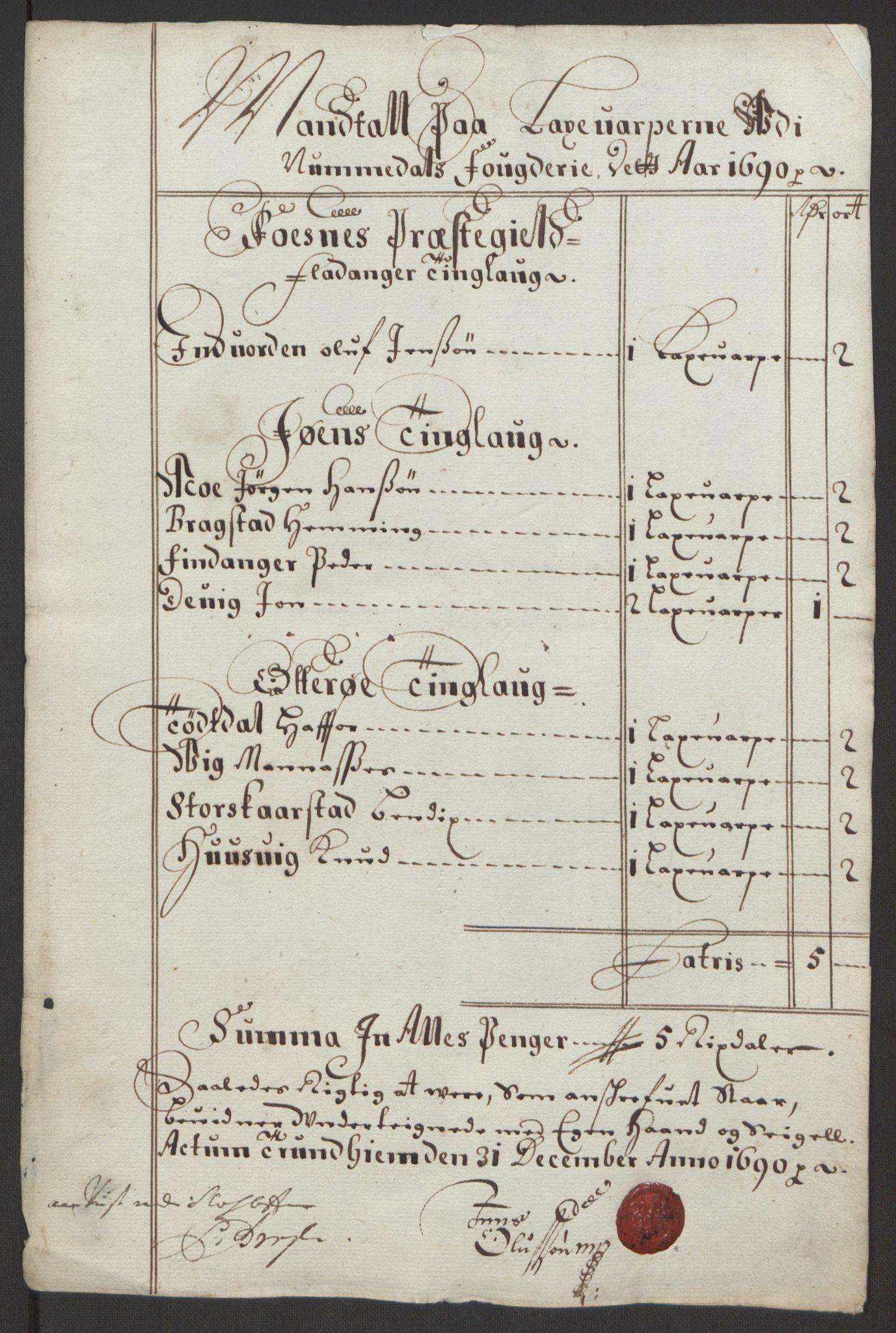 RA, Rentekammeret inntil 1814, Reviderte regnskaper, Fogderegnskap, R64/L4423: Fogderegnskap Namdal, 1690-1691, s. 13