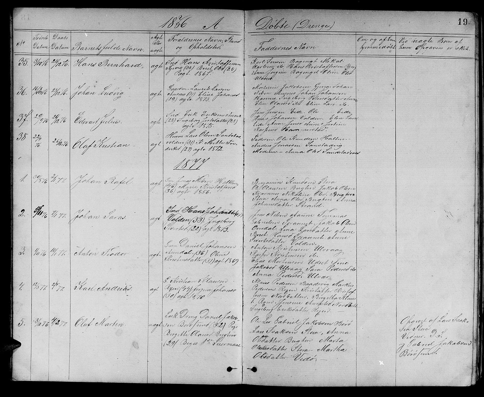 SAT, Ministerialprotokoller, klokkerbøker og fødselsregistre - Sør-Trøndelag, 637/L0561: Klokkerbok nr. 637C02, 1873-1882, s. 19