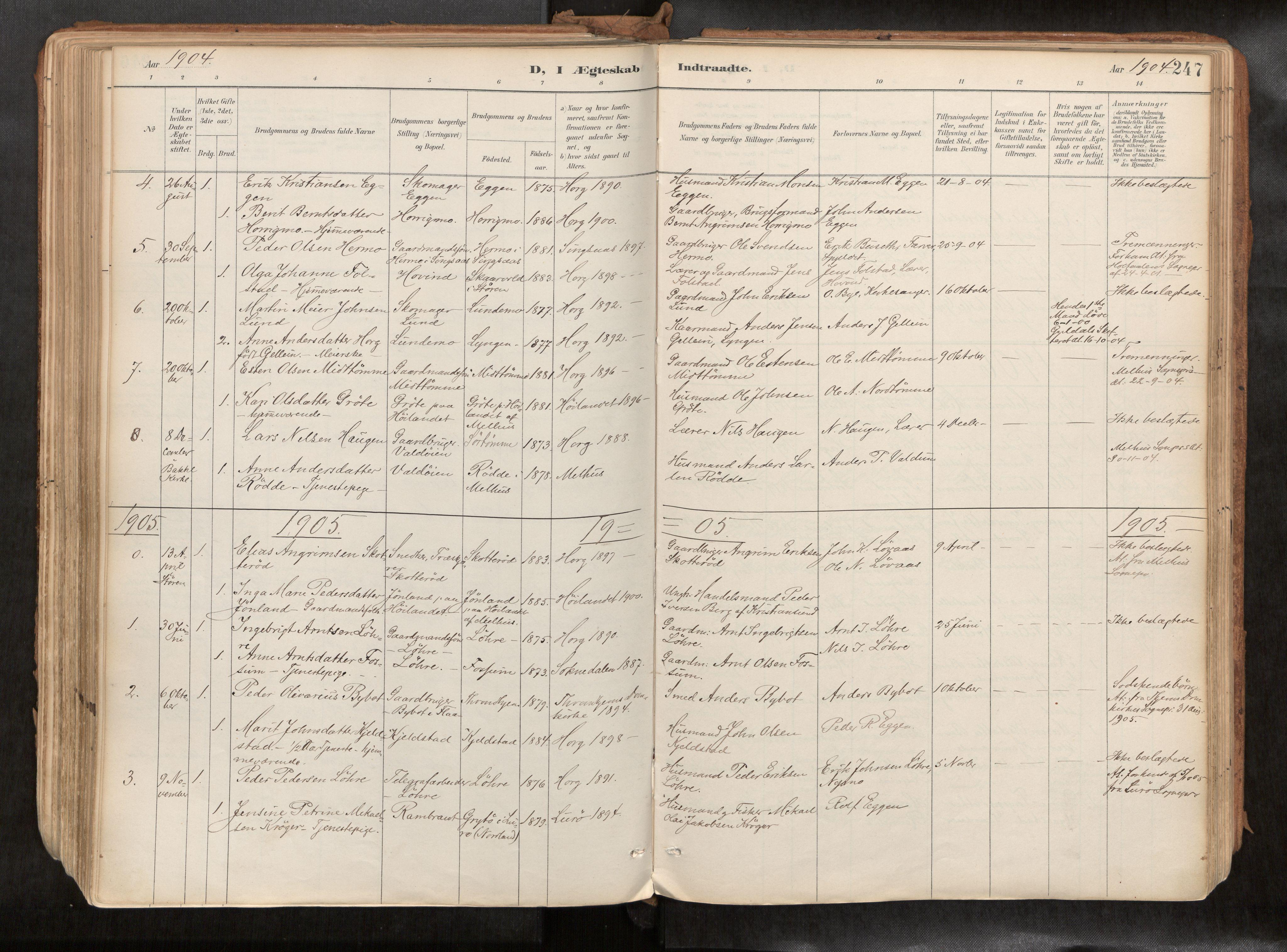 SAT, Ministerialprotokoller, klokkerbøker og fødselsregistre - Sør-Trøndelag, 692/L1105b: Ministerialbok nr. 692A06, 1891-1934, s. 247