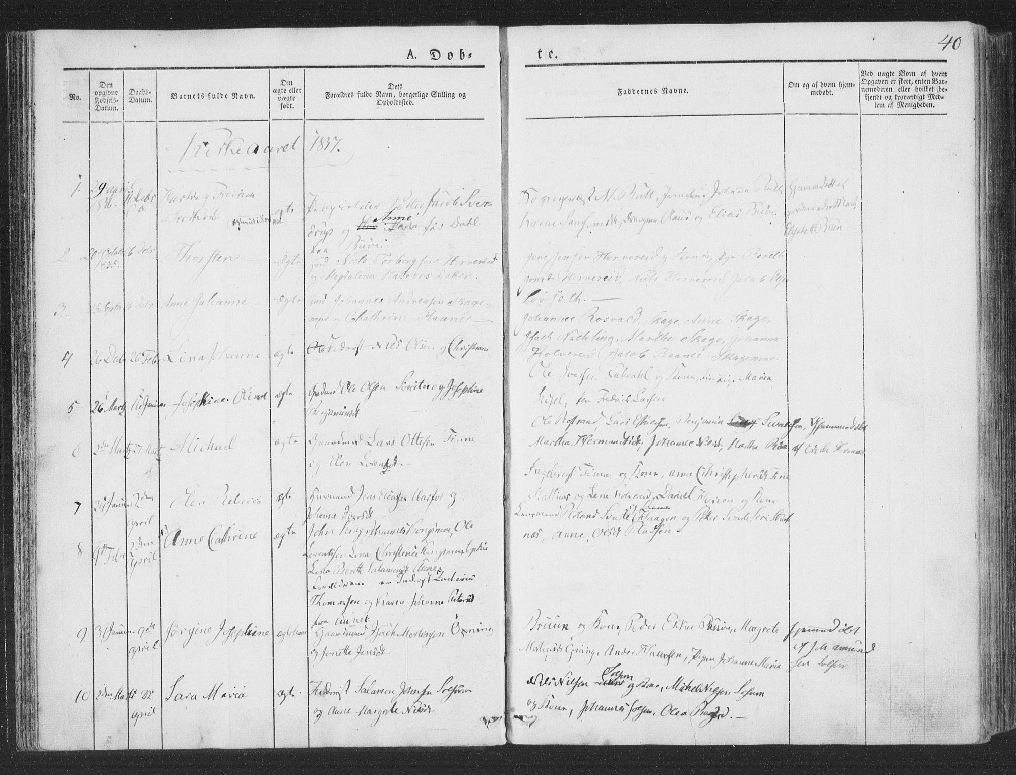 SAT, Ministerialprotokoller, klokkerbøker og fødselsregistre - Nord-Trøndelag, 780/L0639: Ministerialbok nr. 780A04, 1830-1844, s. 40