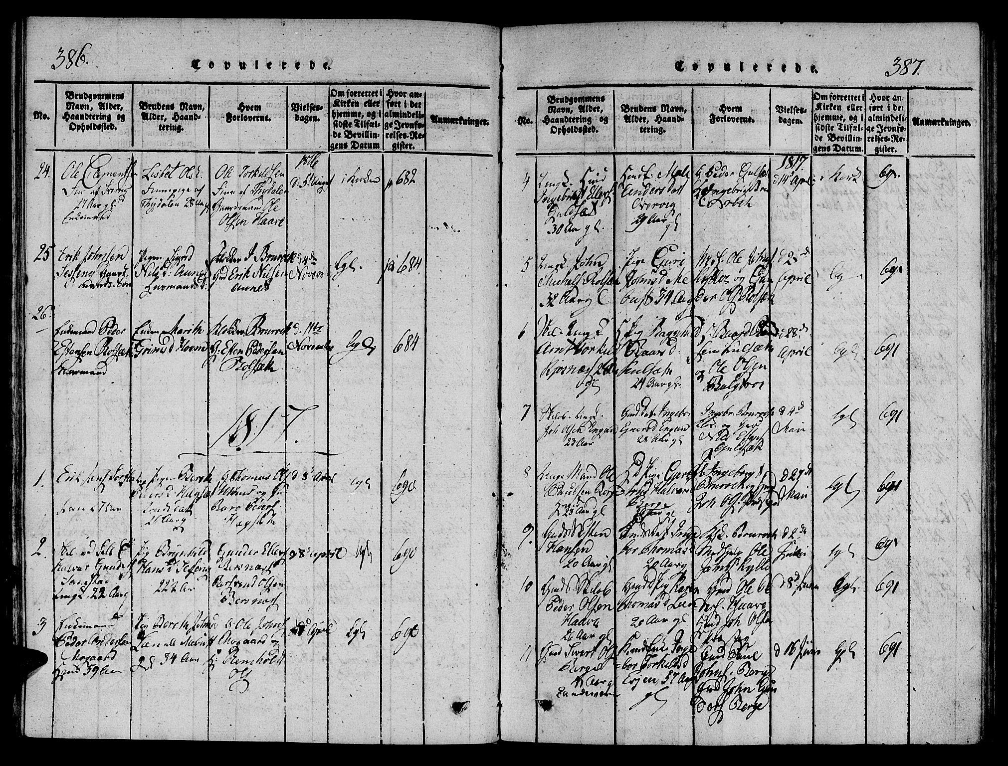 SAT, Ministerialprotokoller, klokkerbøker og fødselsregistre - Sør-Trøndelag, 695/L1141: Ministerialbok nr. 695A04 /1, 1816-1824, s. 386-387