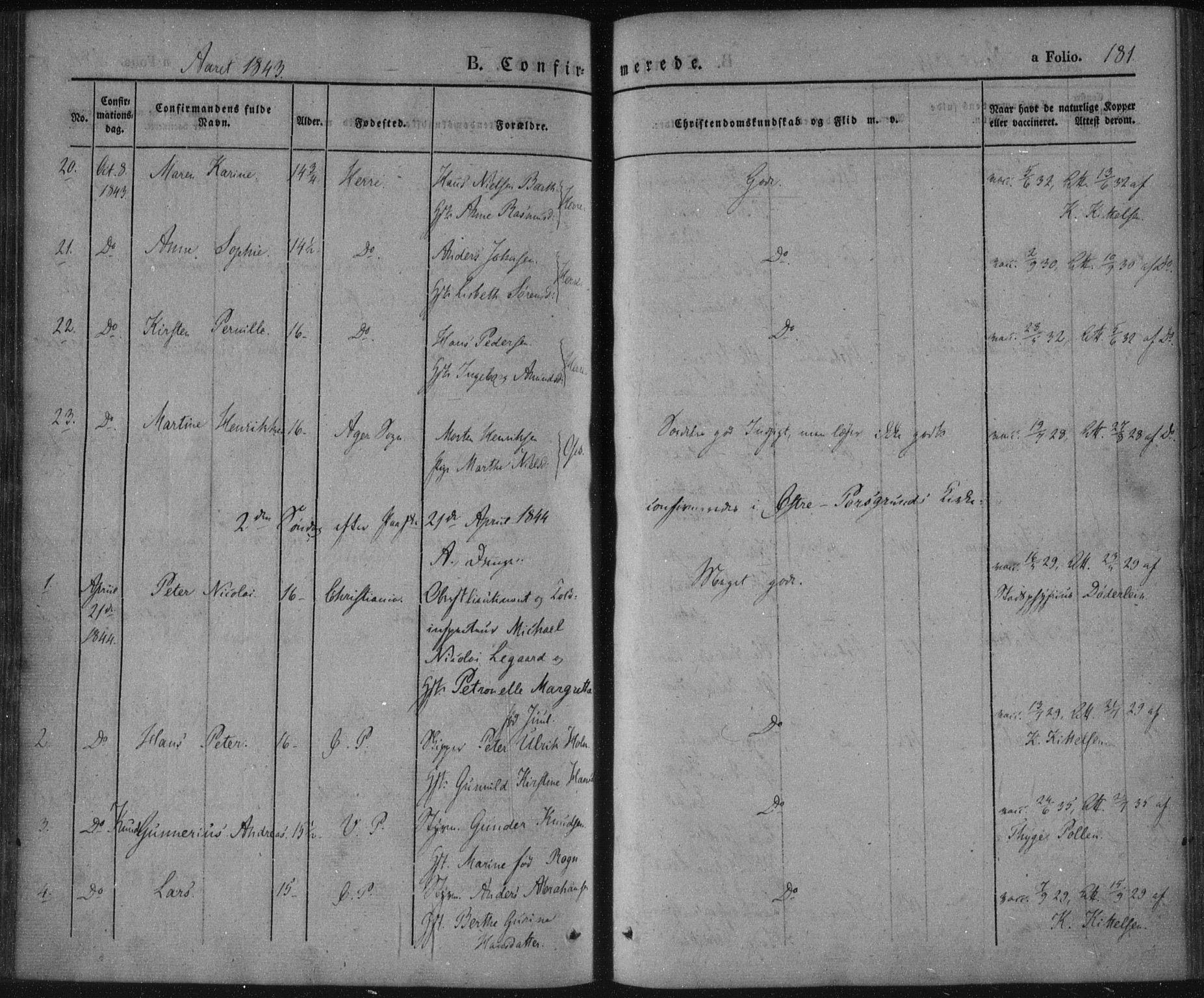 SAKO, Porsgrunn kirkebøker , F/Fa/L0006: Ministerialbok nr. 6, 1841-1857, s. 181