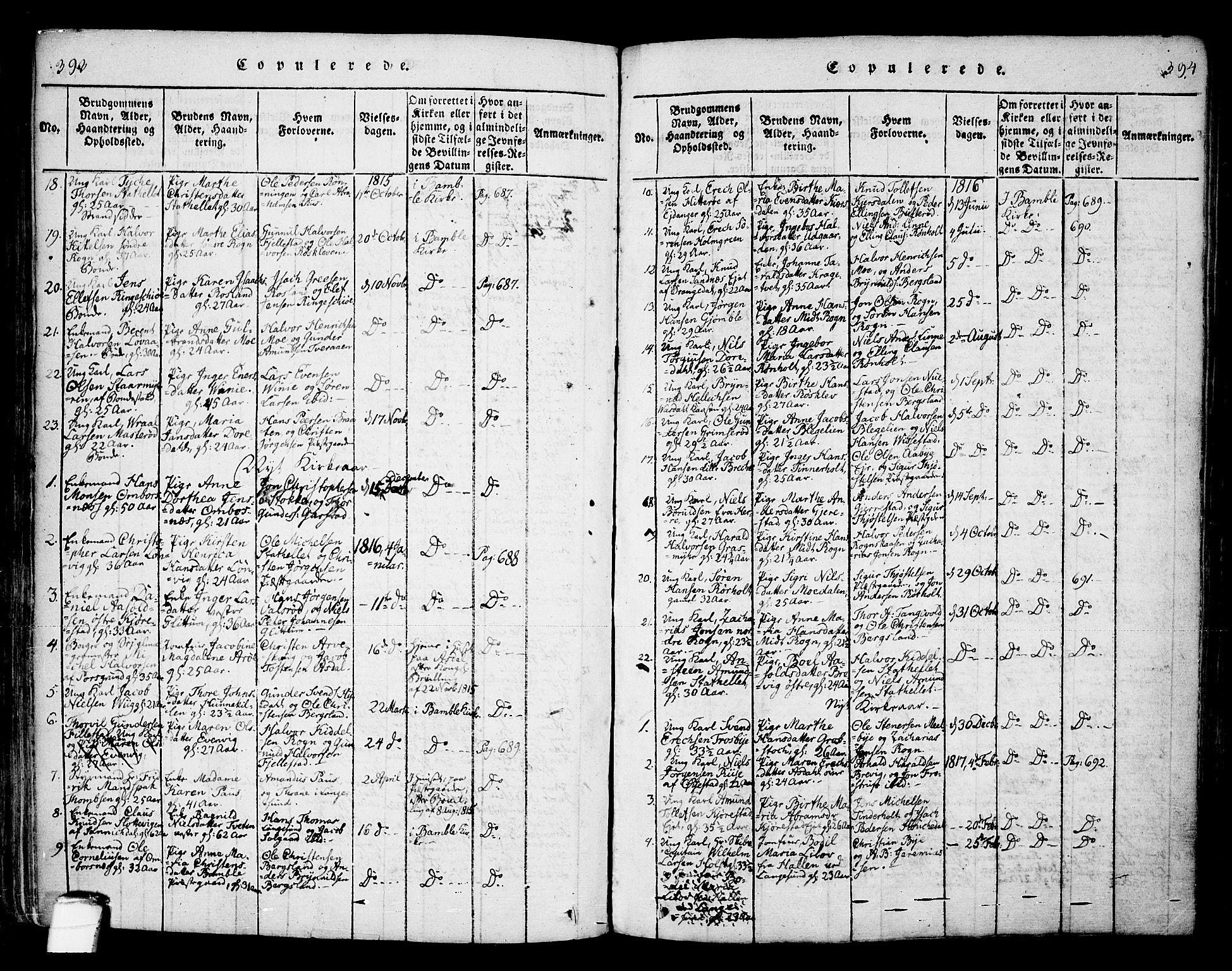 SAKO, Bamble kirkebøker, F/Fa/L0003: Ministerialbok nr. I 3 /1, 1814-1834, s. 393-394