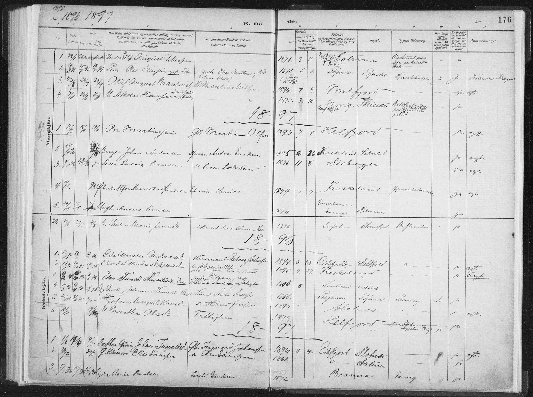 SAT, Ministerialprotokoller, klokkerbøker og fødselsregistre - Nordland, 890/L1286: Ministerialbok nr. 890A01, 1882-1902, s. 176