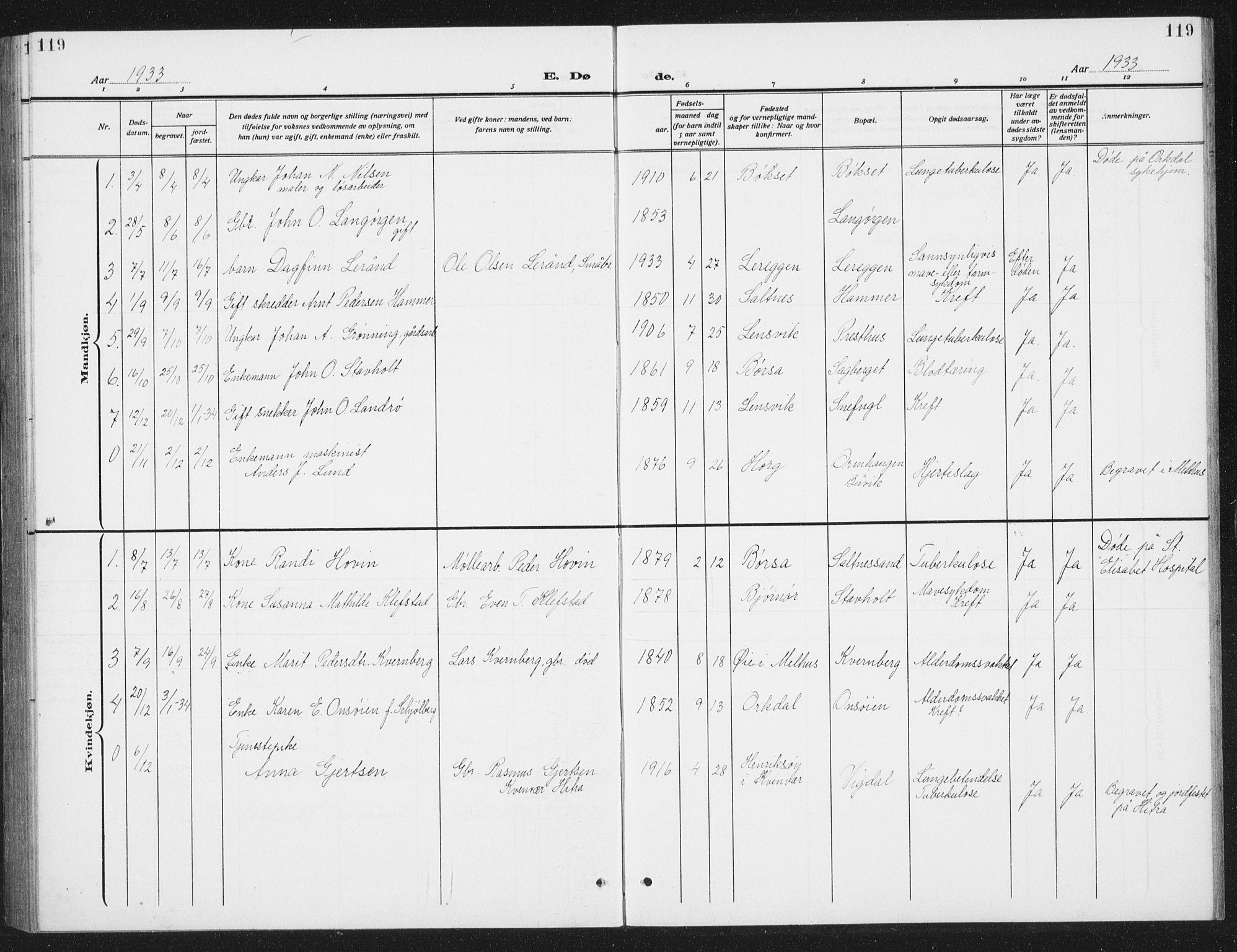 SAT, Ministerialprotokoller, klokkerbøker og fødselsregistre - Sør-Trøndelag, 666/L0791: Klokkerbok nr. 666C04, 1909-1939, s. 119