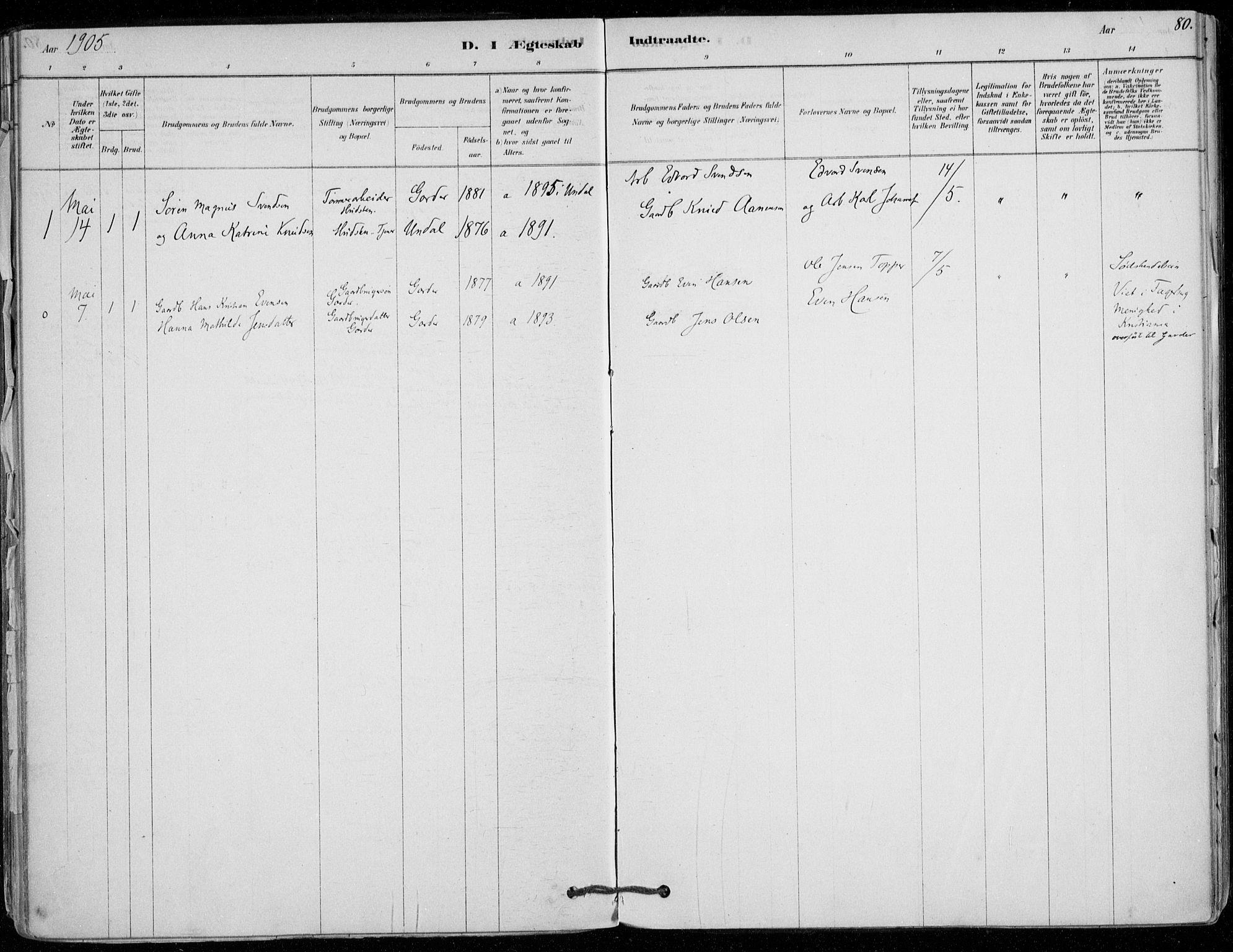 SAO, Vestby prestekontor Kirkebøker, F/Fd/L0001: Ministerialbok nr. IV 1, 1878-1945, s. 80