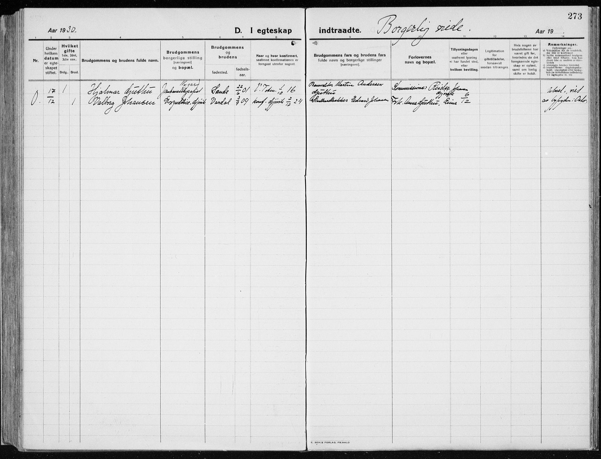 SAH, Vardal prestekontor, H/Ha/Haa/L0015: Ministerialbok nr. 15, 1923-1937, s. 273
