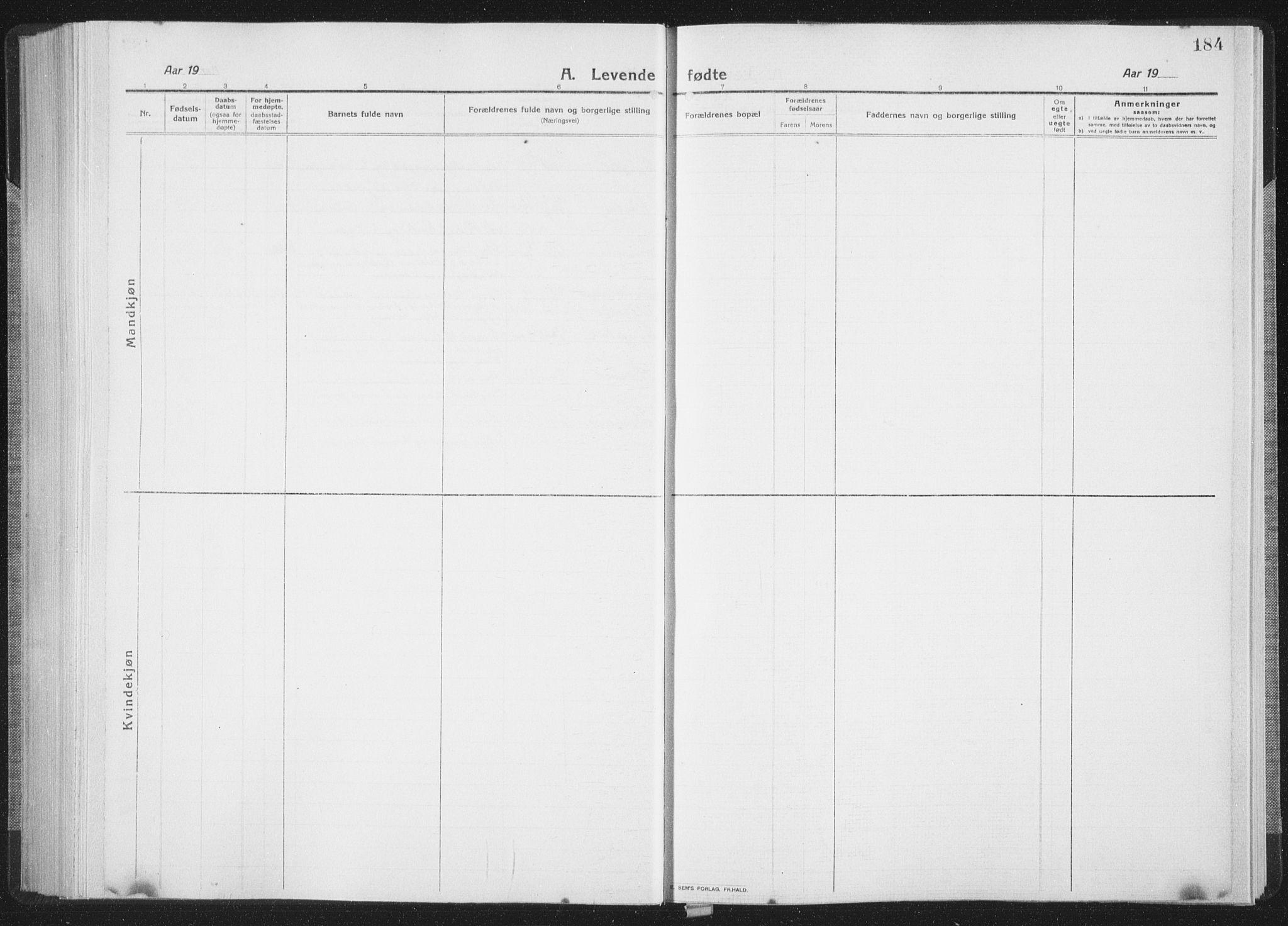 SAT, Ministerialprotokoller, klokkerbøker og fødselsregistre - Sør-Trøndelag, 659/L0747: Klokkerbok nr. 659C04, 1913-1938, s. 184