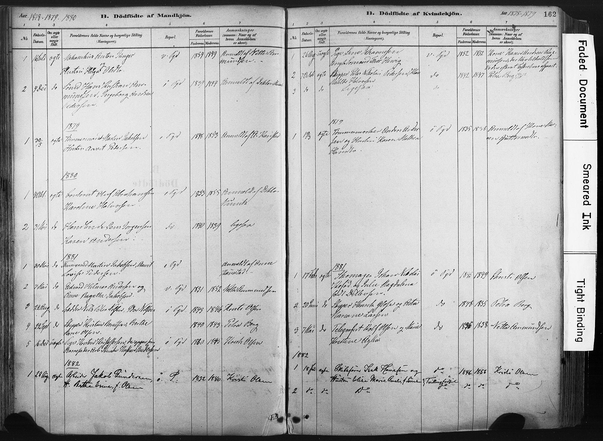 SAKO, Porsgrunn kirkebøker , F/Fa/L0008: Ministerialbok nr. 8, 1878-1895, s. 162