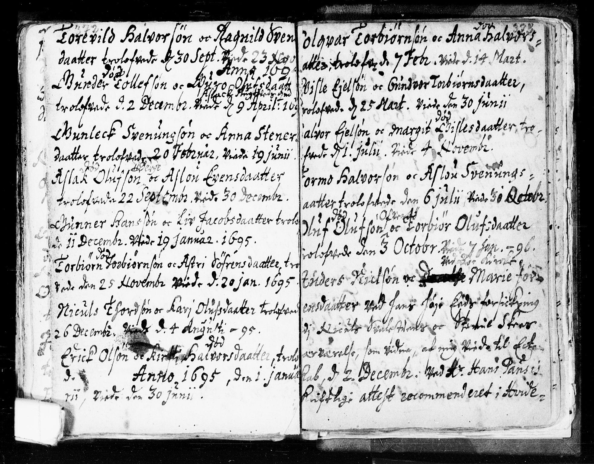 SAKO, Seljord kirkebøker, F/Fa/L0002: Ministerialbok nr. I 2, 1689-1713, s. 372-373