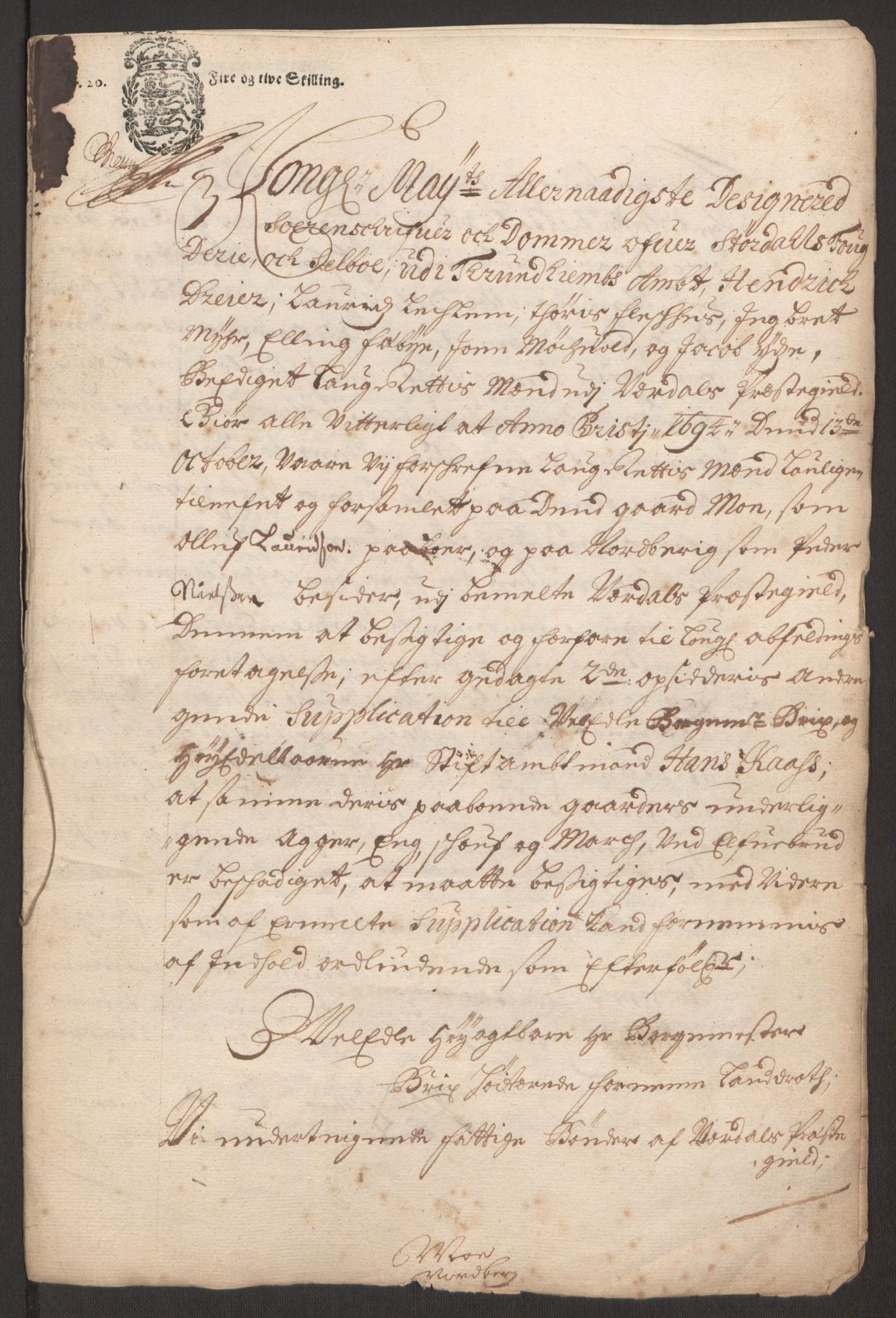 RA, Rentekammeret inntil 1814, Reviderte regnskaper, Fogderegnskap, R62/L4186: Fogderegnskap Stjørdal og Verdal, 1693-1694, s. 255