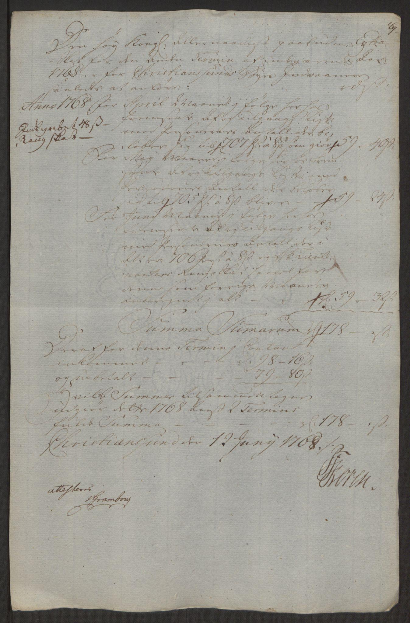 RA, Rentekammeret inntil 1814, Reviderte regnskaper, Byregnskaper, R/Rr/L0495: [R1] Kontribusjonsregnskap, 1762-1772, s. 188