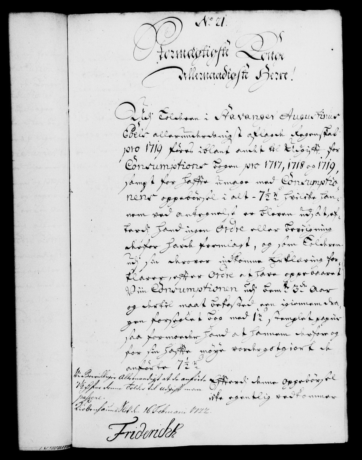 RA, Rentekammeret, Kammerkanselliet, G/Gf/Gfa/L0005: Norsk relasjons- og resolusjonsprotokoll (merket RK 52.5), 1722, s. 102