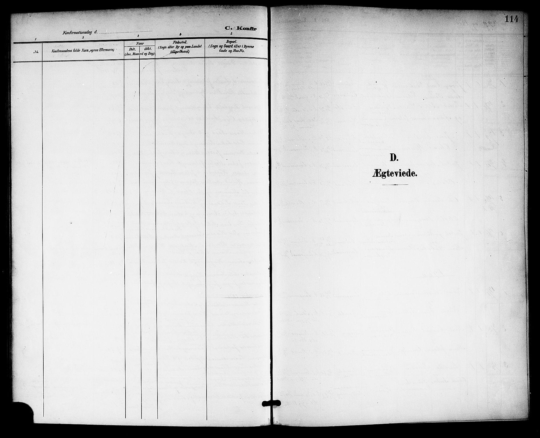 SAKO, Langesund kirkebøker, G/Ga/L0006: Klokkerbok nr. 6, 1899-1918, s. 114