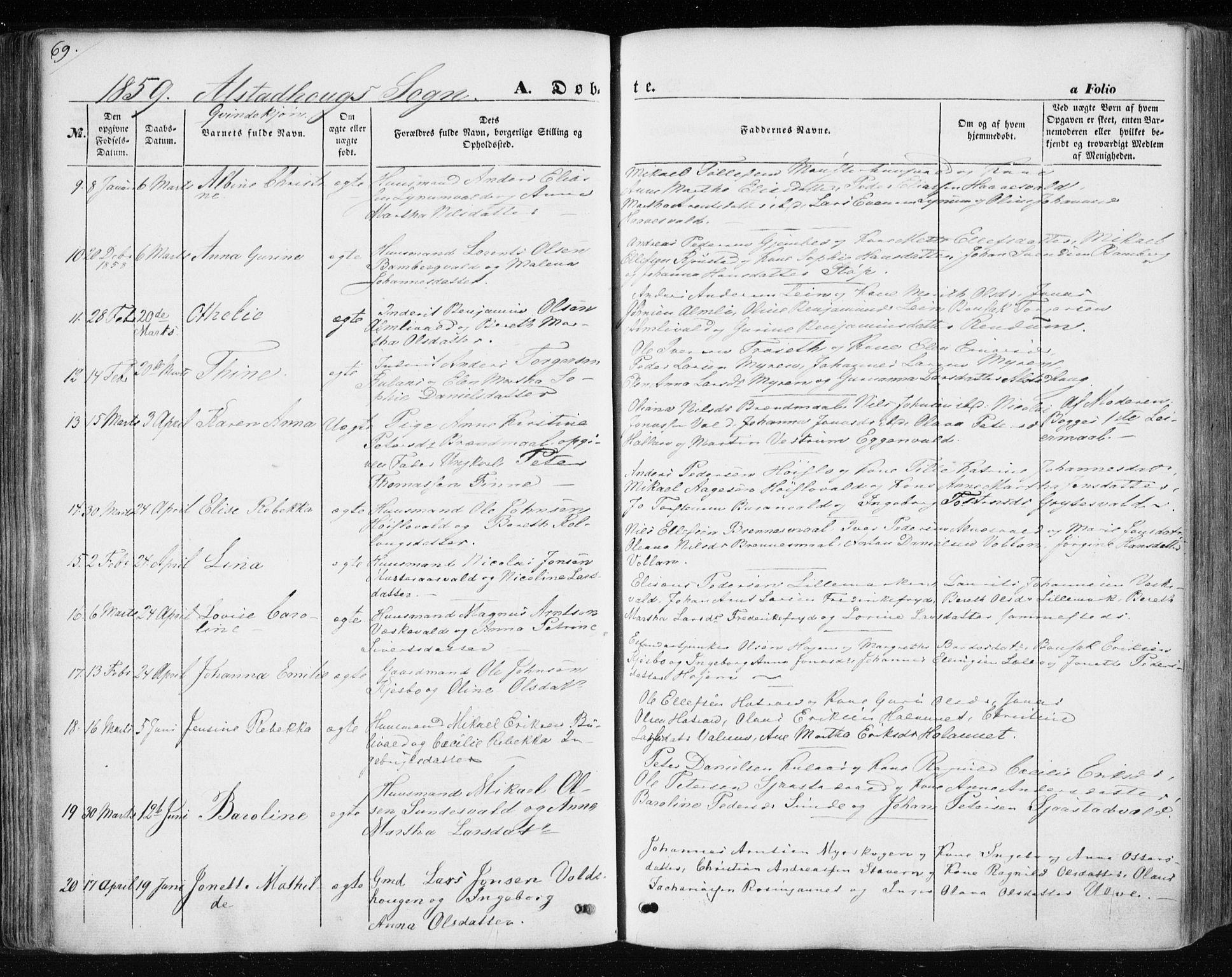 SAT, Ministerialprotokoller, klokkerbøker og fødselsregistre - Nord-Trøndelag, 717/L0154: Ministerialbok nr. 717A07 /1, 1850-1862, s. 69