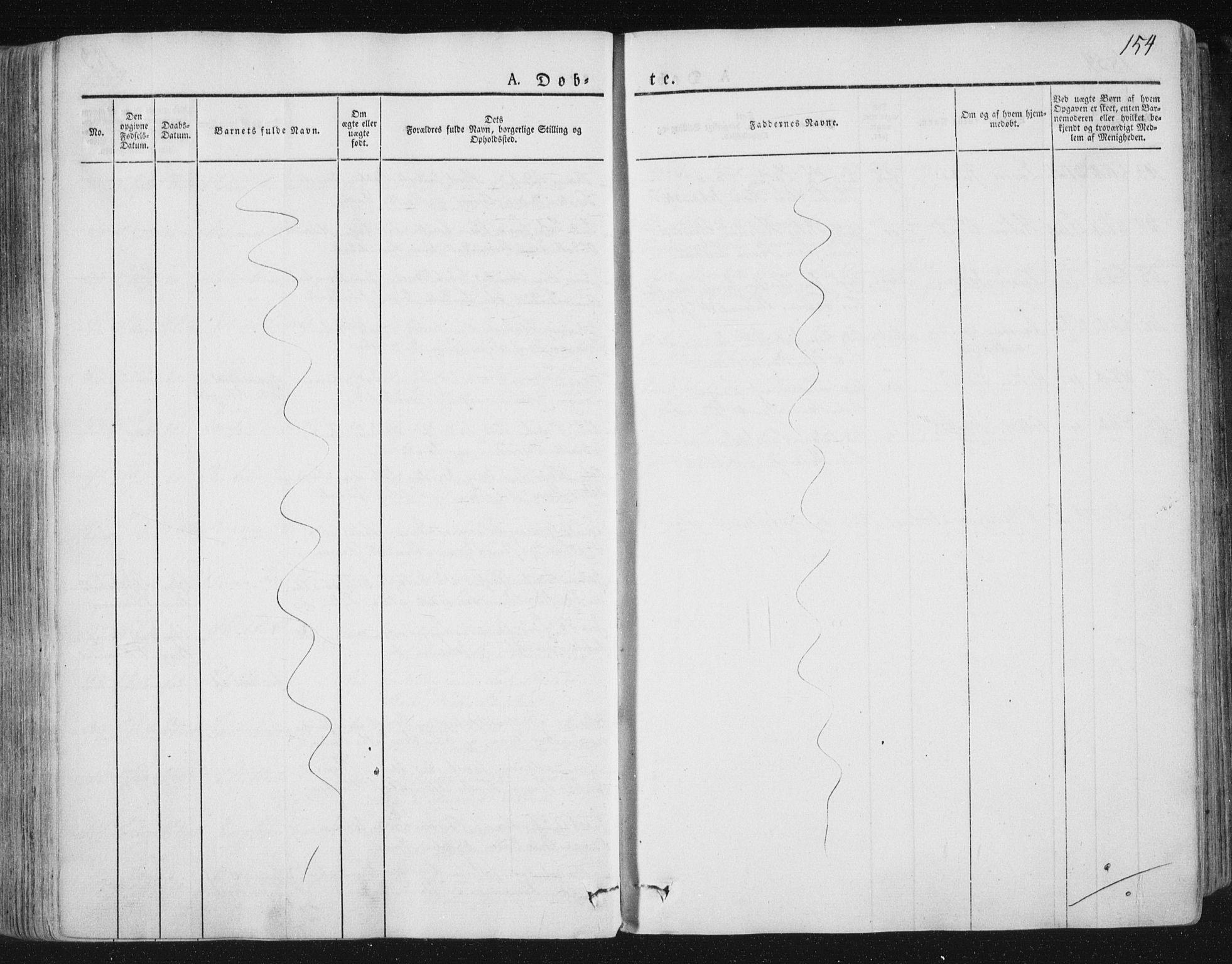 SAT, Ministerialprotokoller, klokkerbøker og fødselsregistre - Nord-Trøndelag, 784/L0669: Ministerialbok nr. 784A04, 1829-1859, s. 154