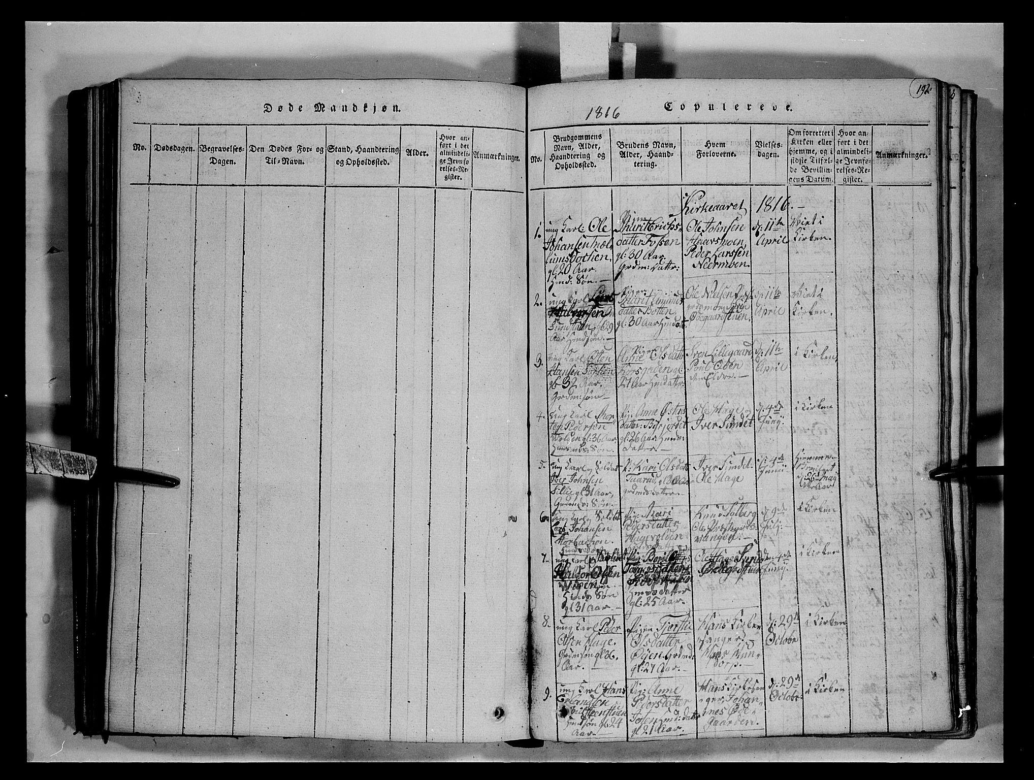 SAH, Fron prestekontor, H/Ha/Hab/L0004: Klokkerbok nr. 4, 1816-1850, s. 192