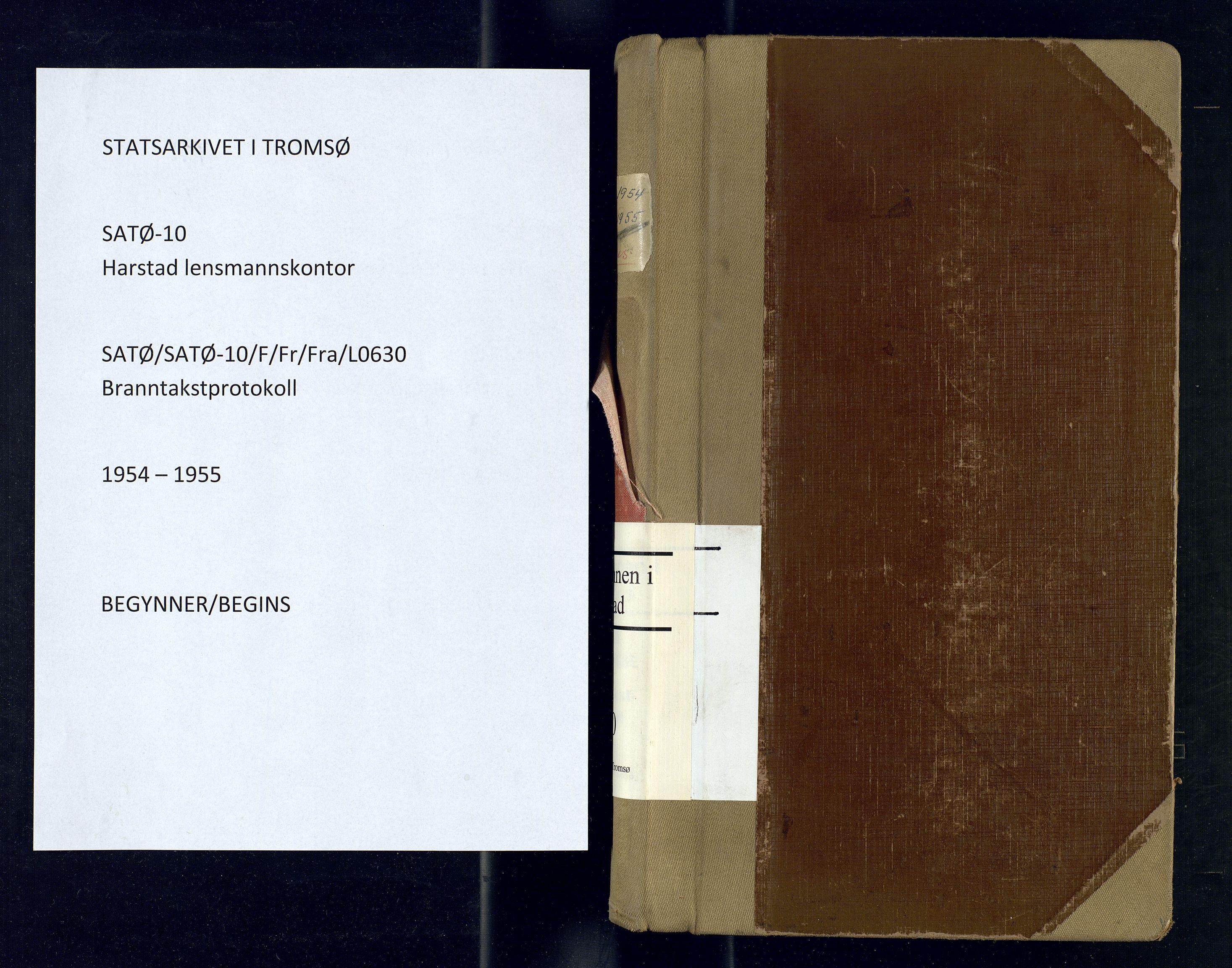 SATØ, Harstad lensmannskontor, F/Fr/Fra/L0630: Branntakstprotokoll, 1954-1955