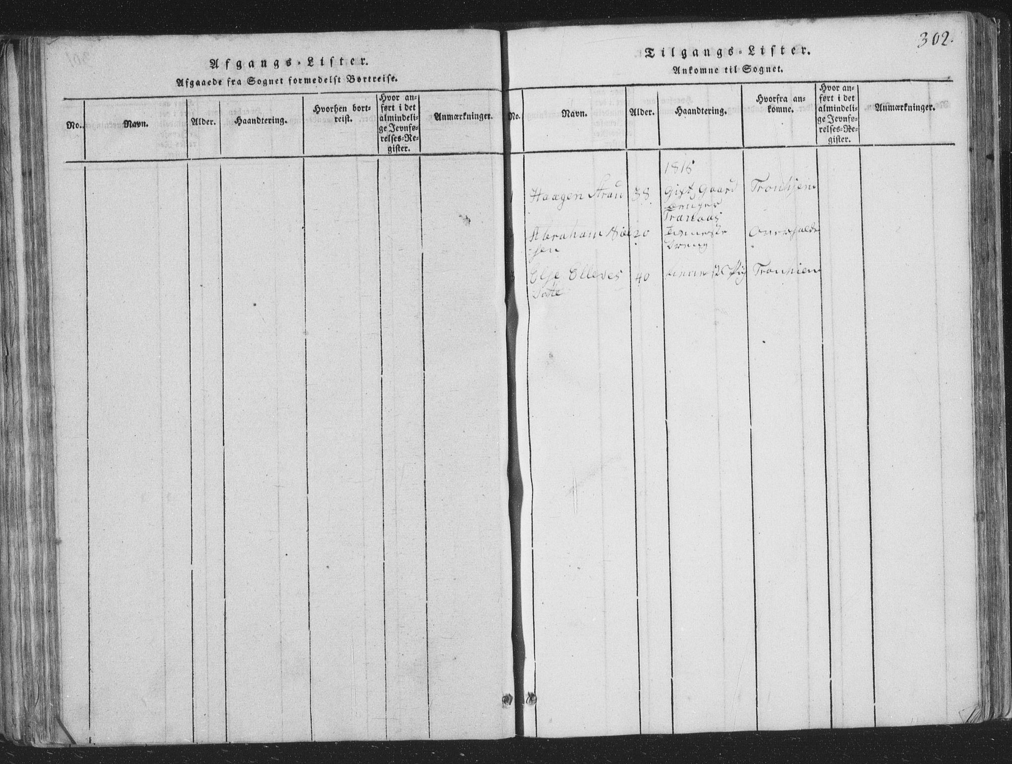 SAT, Ministerialprotokoller, klokkerbøker og fødselsregistre - Nord-Trøndelag, 773/L0613: Ministerialbok nr. 773A04, 1815-1845, s. 302