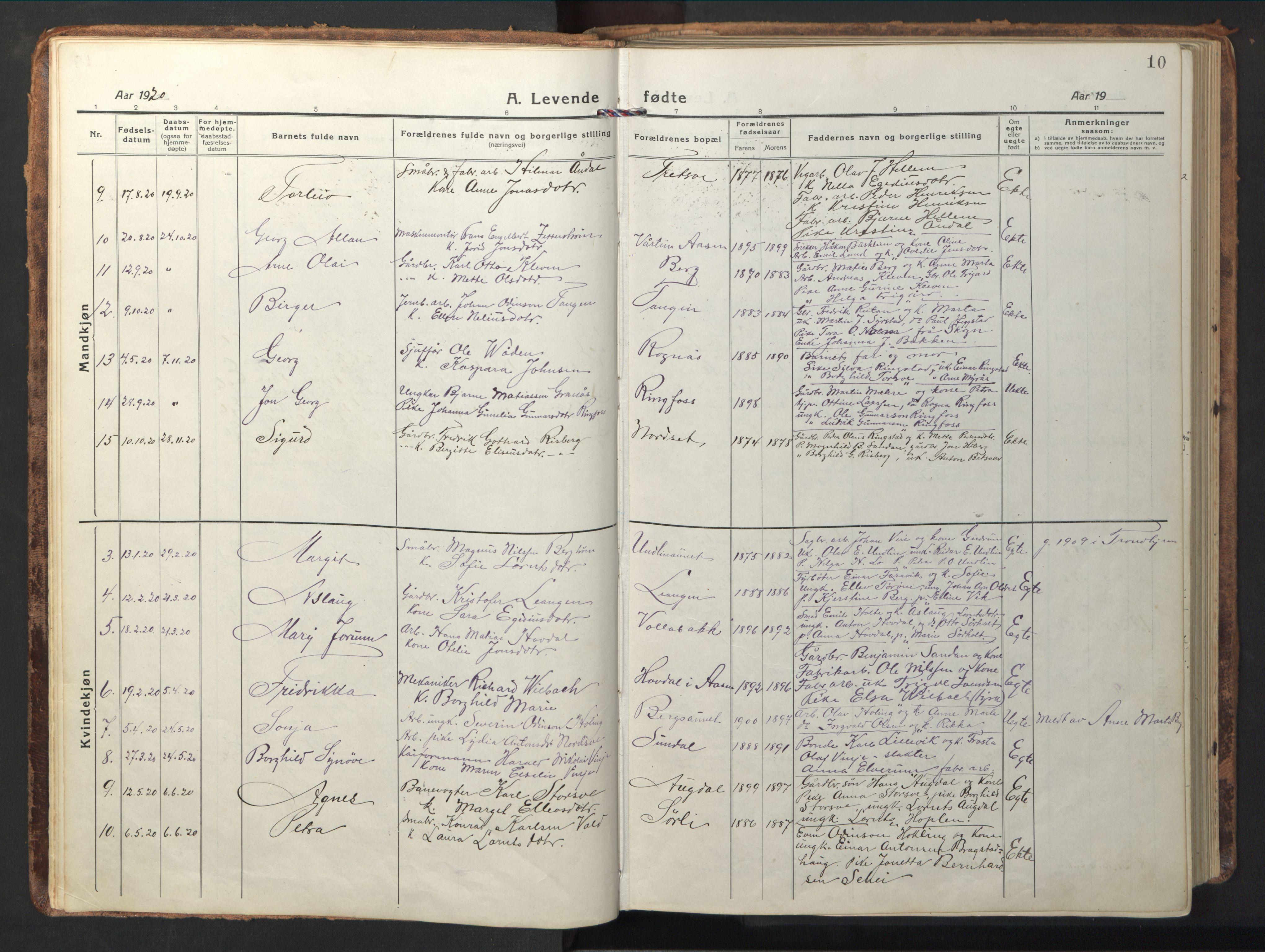SAT, Ministerialprotokoller, klokkerbøker og fødselsregistre - Nord-Trøndelag, 714/L0136: Klokkerbok nr. 714C05, 1918-1957, s. 10