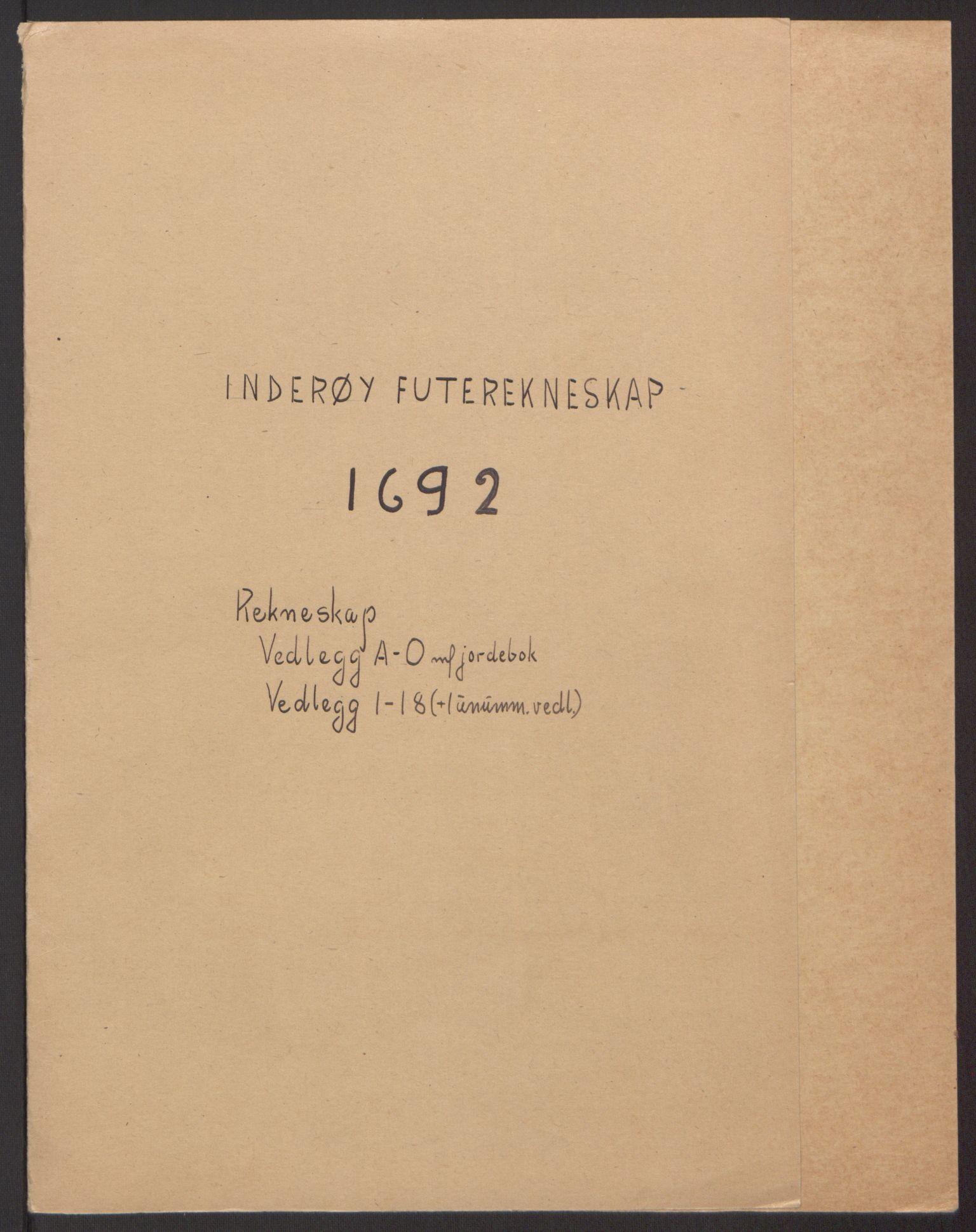 RA, Rentekammeret inntil 1814, Reviderte regnskaper, Fogderegnskap, R63/L4308: Fogderegnskap Inderøy, 1692-1694, s. 2