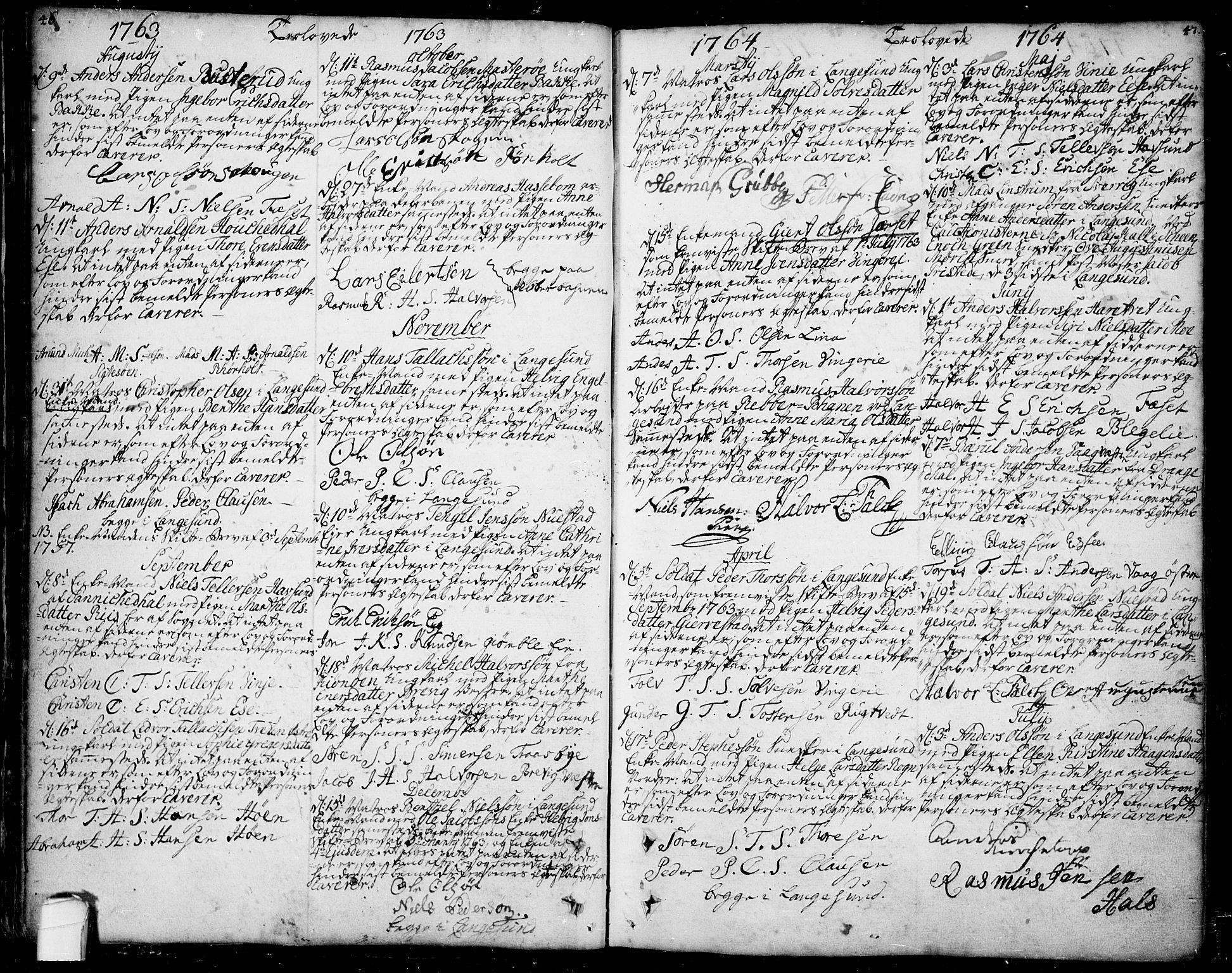 SAKO, Bamble kirkebøker, F/Fa/L0001: Ministerialbok nr. I 1, 1702-1774, s. 46-47