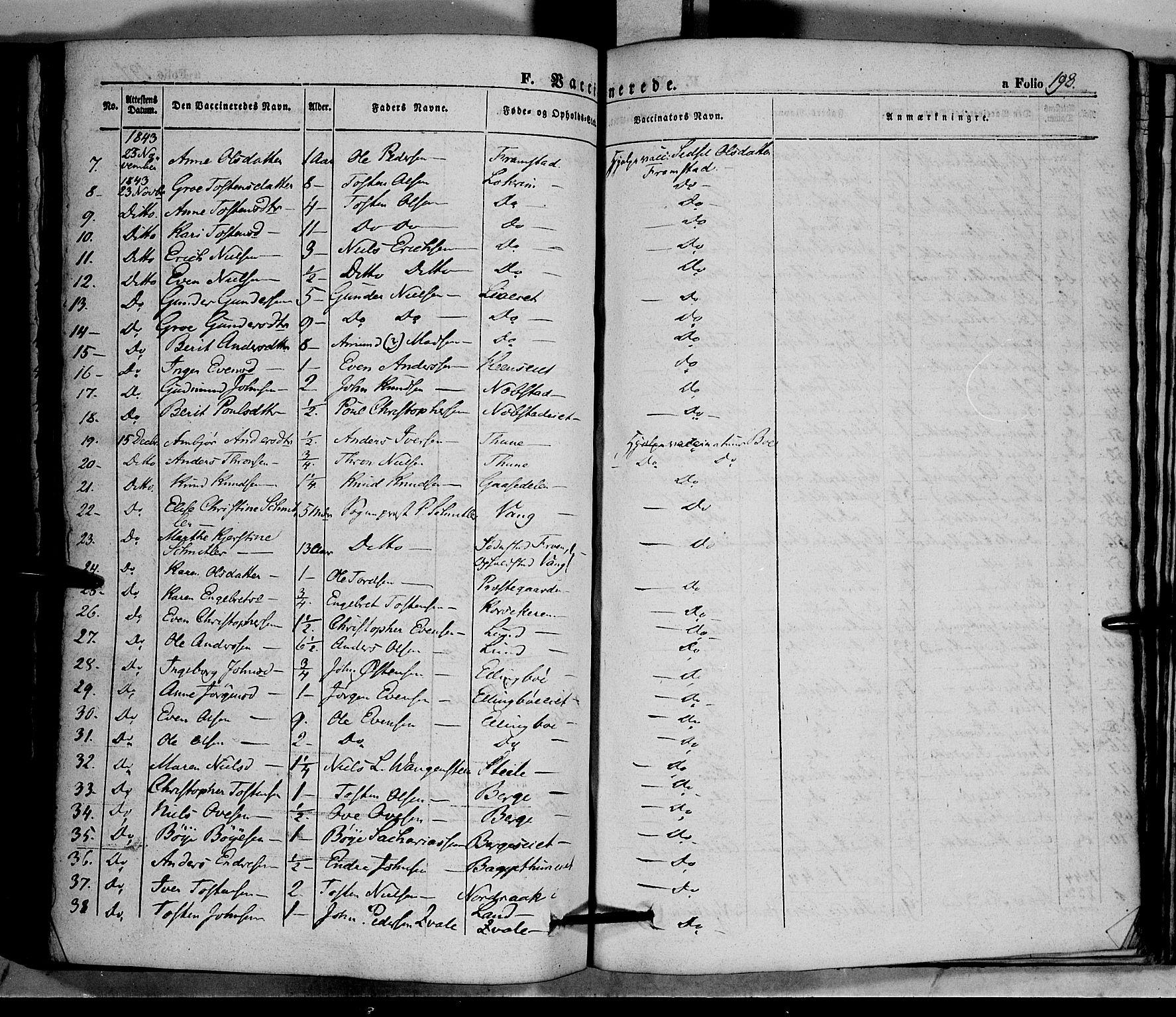 SAH, Vang prestekontor, Valdres, Ministerialbok nr. 5, 1831-1845, s. 198